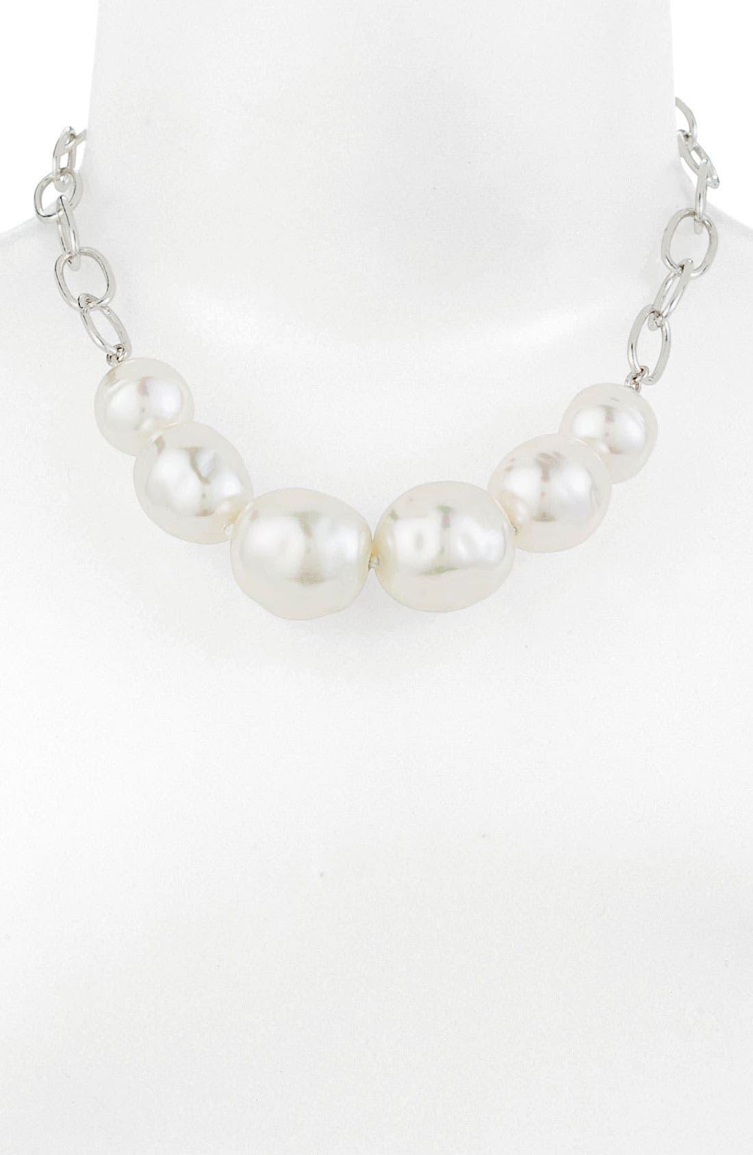 Main Image - Majorica Baroque Pearl Frontal Necklace