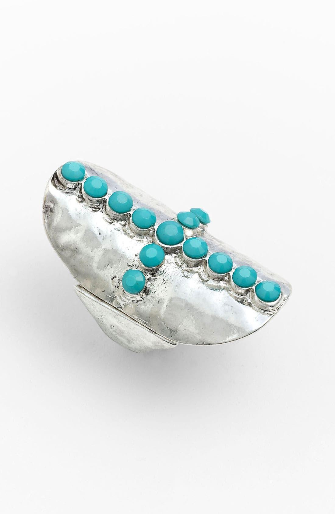 Main Image - Carole Turquoise Rhinestone Cross Shield Ring (Online Exclusive)