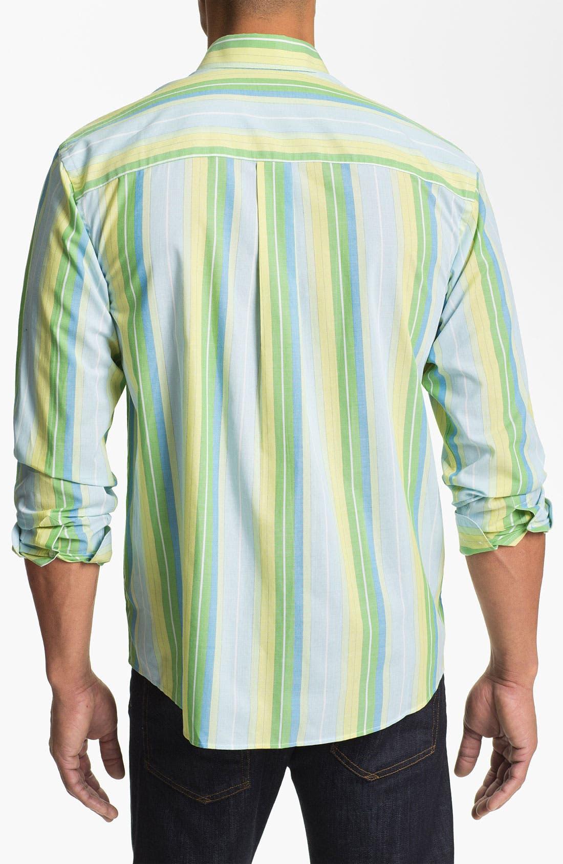 Alternate Image 2  - Cutter & Buck 'Fisk Stripe' Regular Fit Cotton & Silk Sport Shirt (Big & Tall) (Online Only)