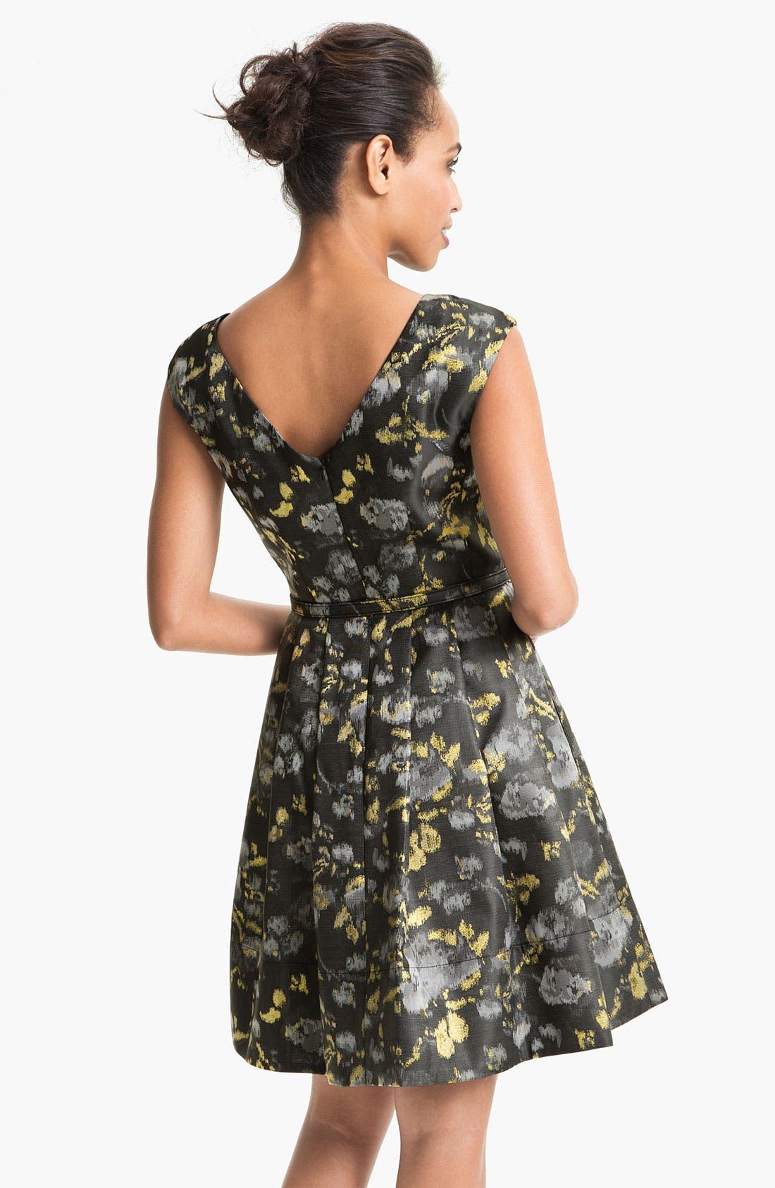 Alternate Image 2  - Eliza J Cap Sleeve Jacquard Fit & Flare Dress (Petite)