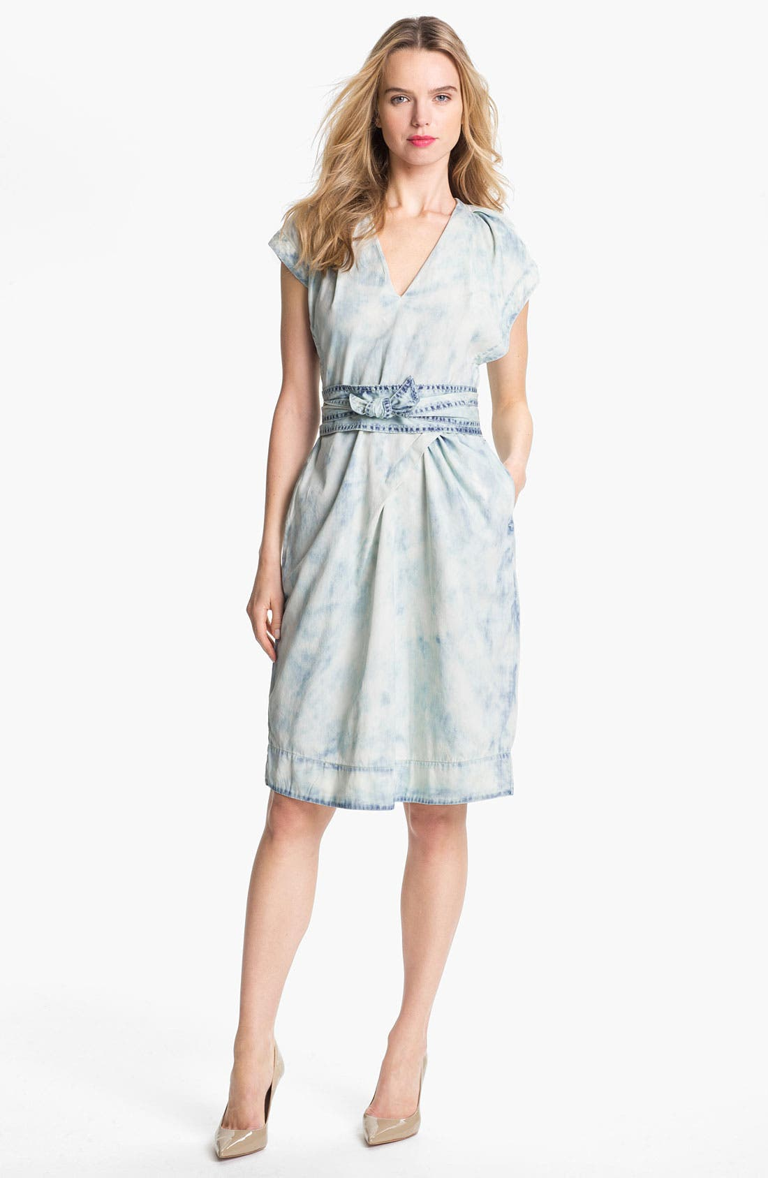 Alternate Image 1 Selected - Rebecca Taylor Cotton Faux Wrap Dress