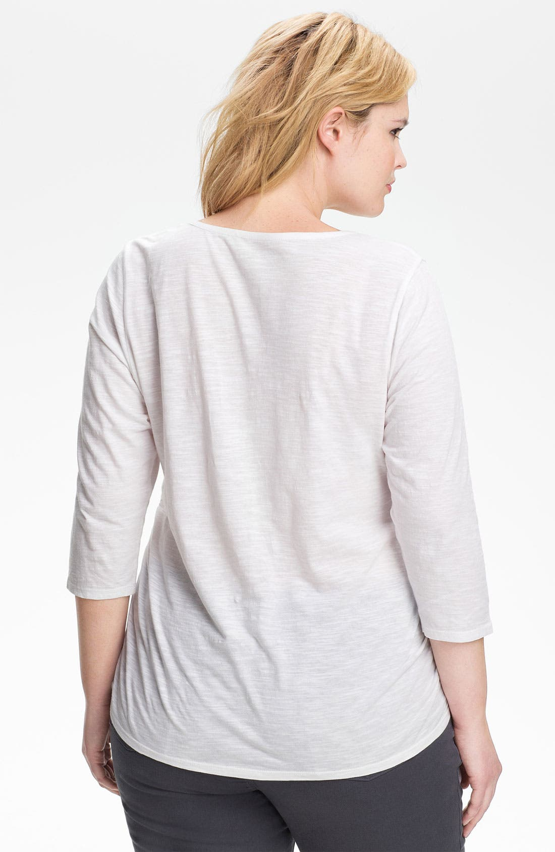 Alternate Image 2  - Sejour Ruched Cotton Tee (Plus Size)