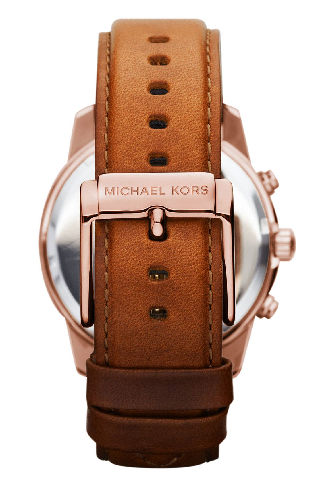 Alternate Image 3  - Michael Kors Chronograph Leather Strap Watch, 41mm
