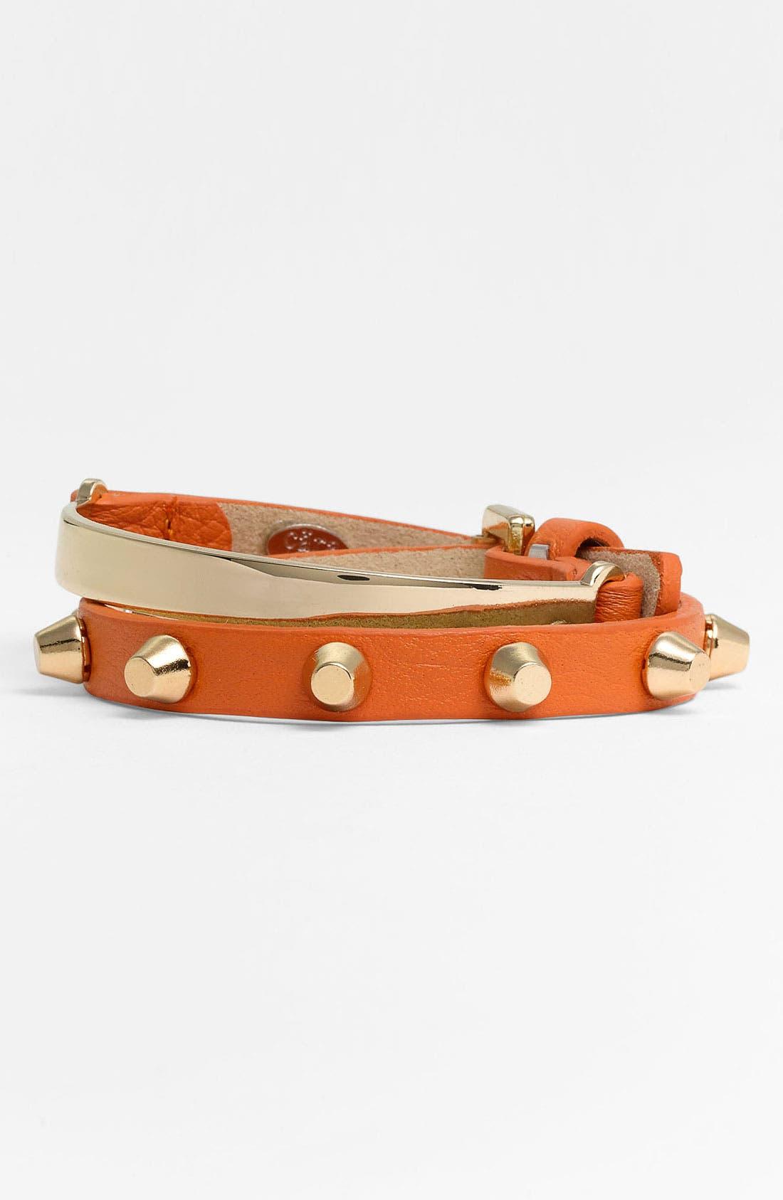 Main Image - Cara Leather Wrap Bracelet