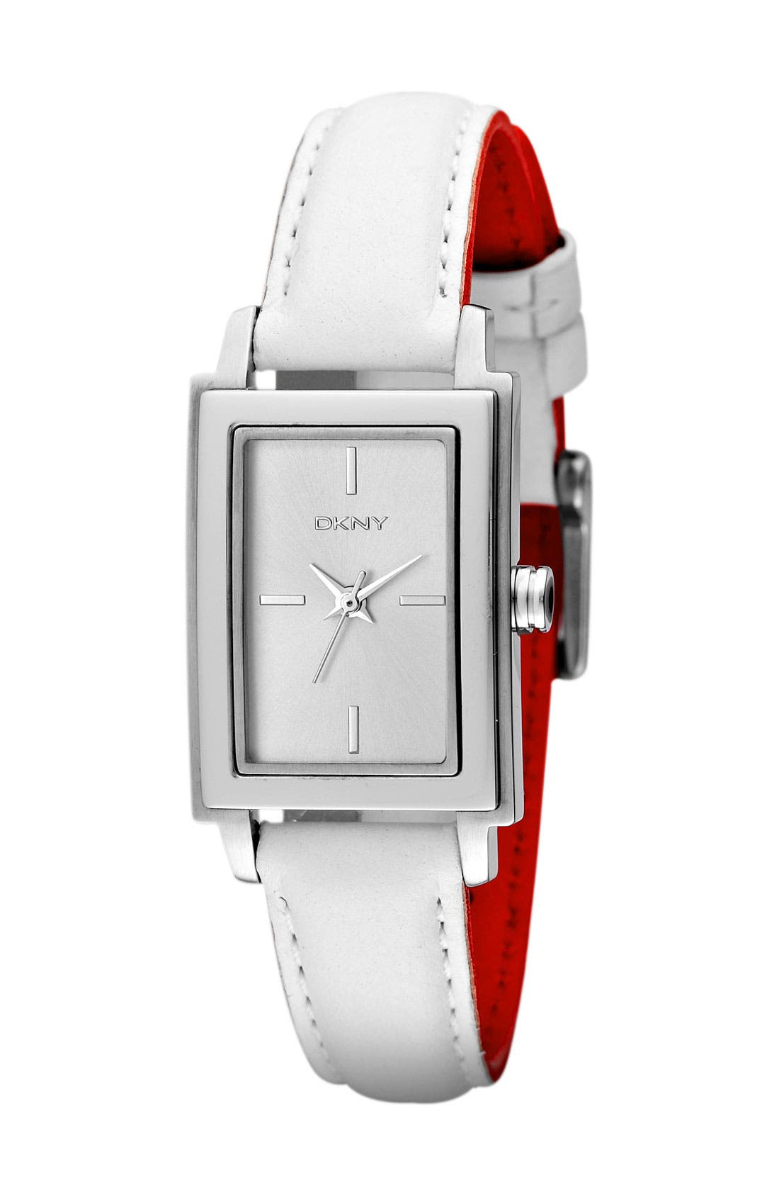 Alternate Image 2  - DKNY Rectangular Leather Strap Watch, 23mm x 28mm