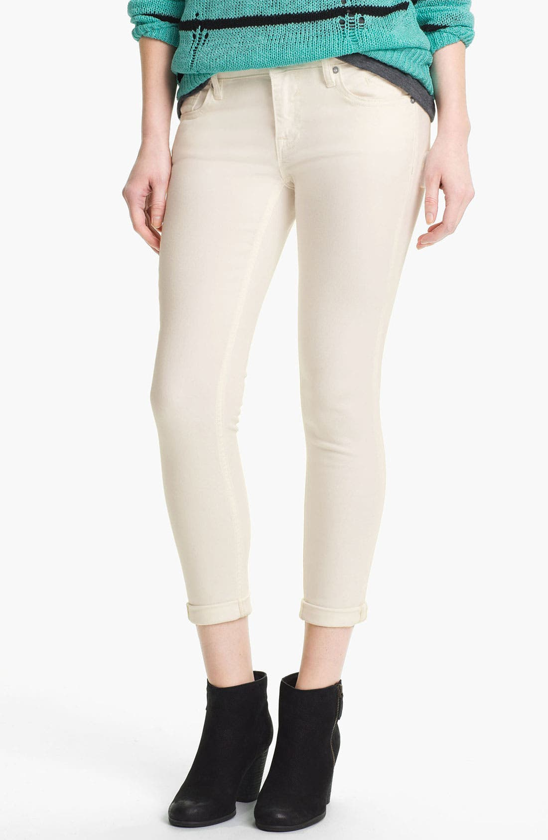 Alternate Image 2  - Vigoss Skinny Crop Jeans (White) (Juniors)