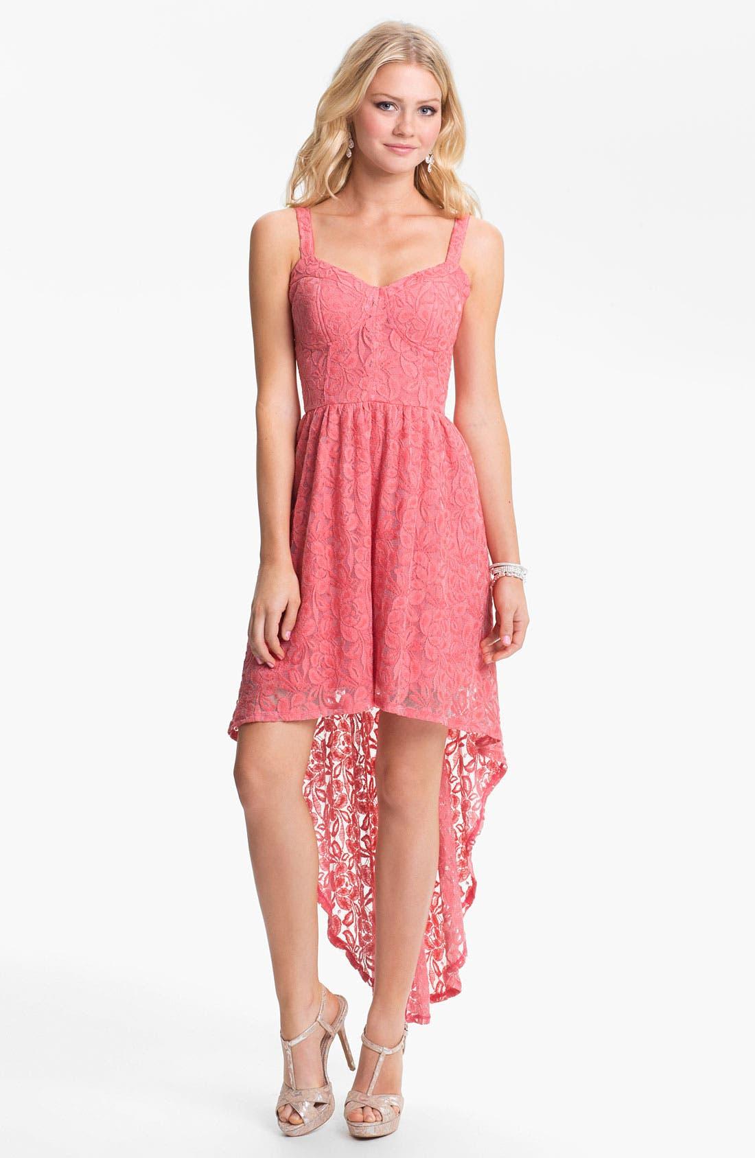 Alternate Image 1  - Fire High/Low Lace Bustier Dress (Juniors)
