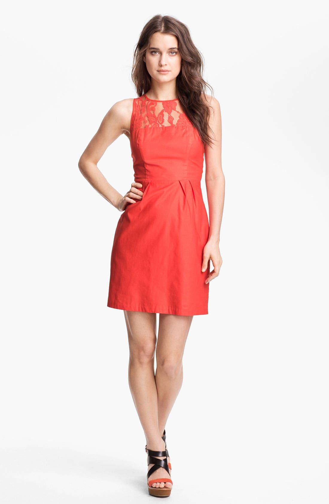 Main Image - BB Dakota 'Mandy' Lace Yoke Cotton Sheath Dress