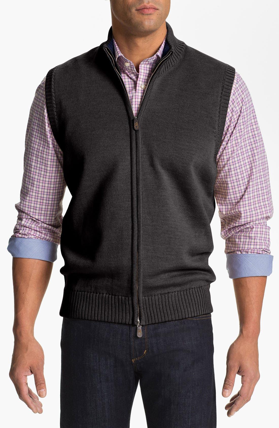 Main Image - Thomas Dean Zip Front Wool Sweater Vest