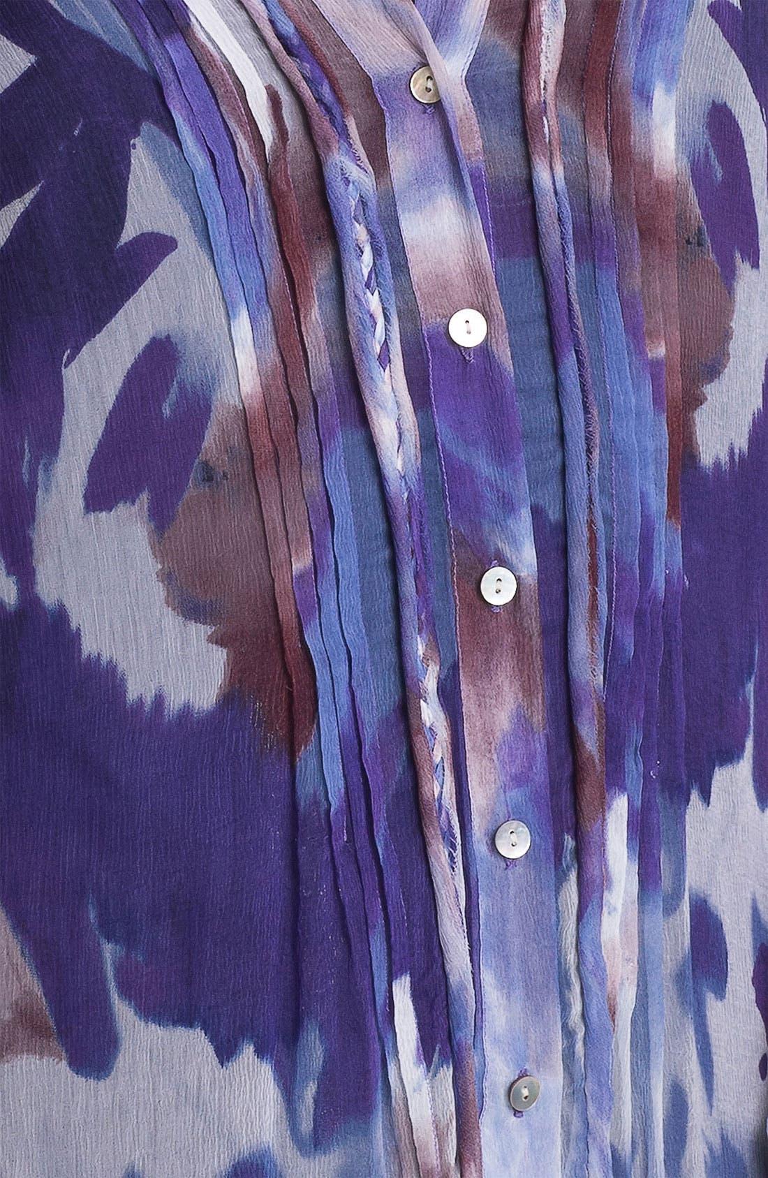 Alternate Image 3  - Casual Studio Pleat Front Sheer Print Blouse
