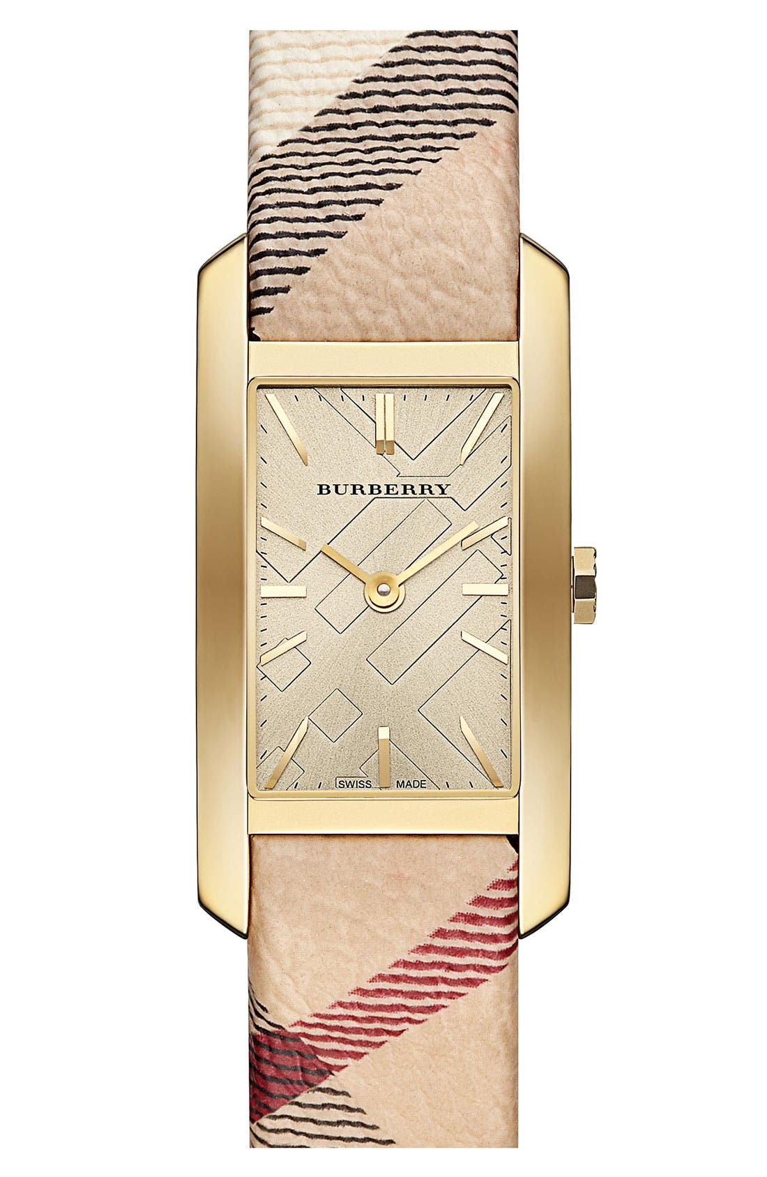 Main Image - Burberry Rectangular Check Strap Watch, 20mm x 26mm