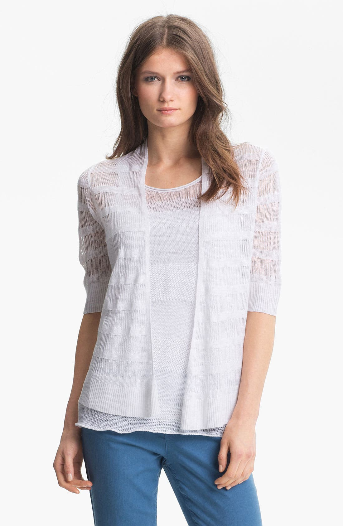 Main Image - Eileen Fisher Linen Stripe Open Front Cardigan