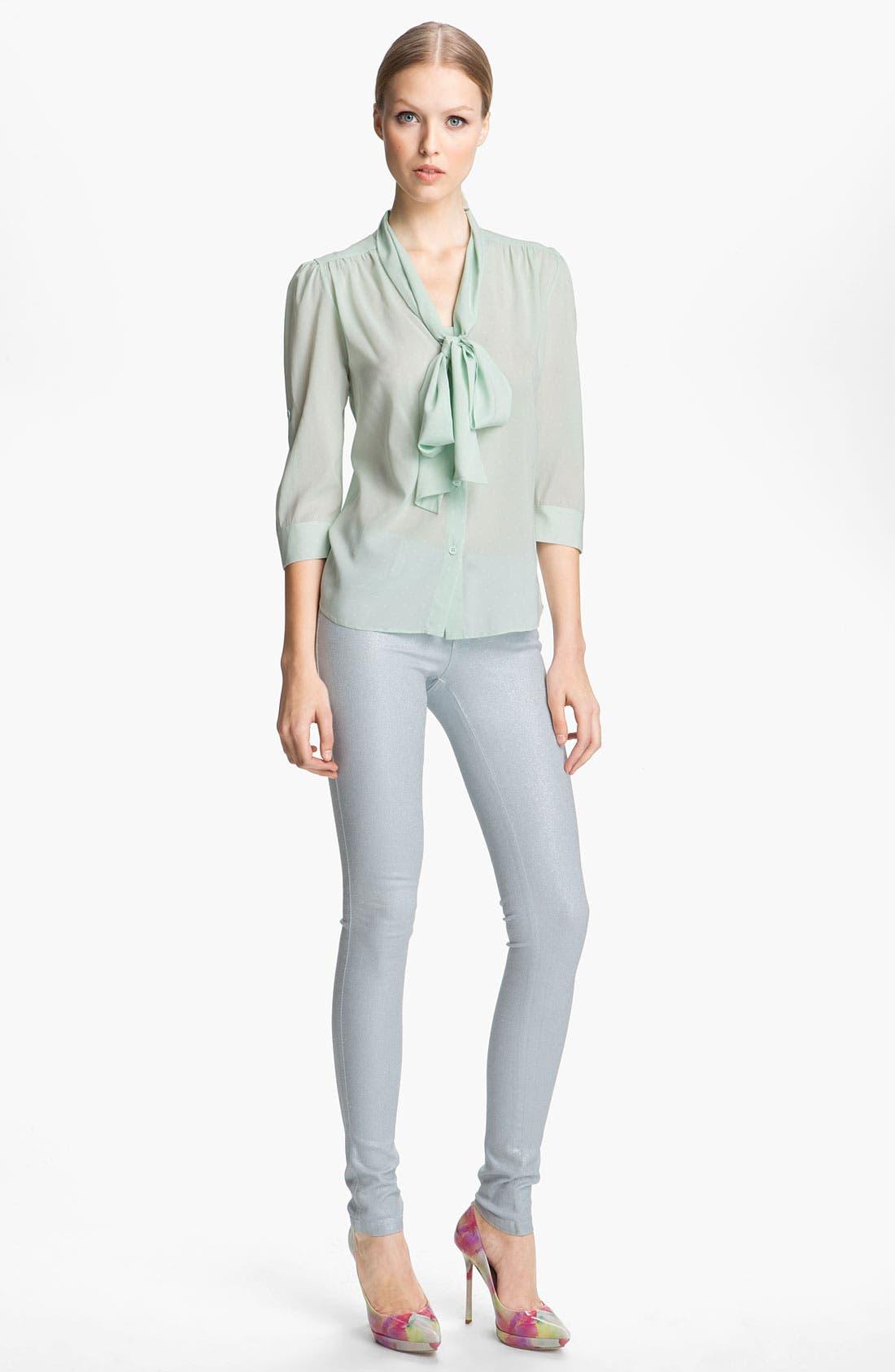 Alternate Image 3  - Alice + Olivia Glitter Skinny Stretch Jeans