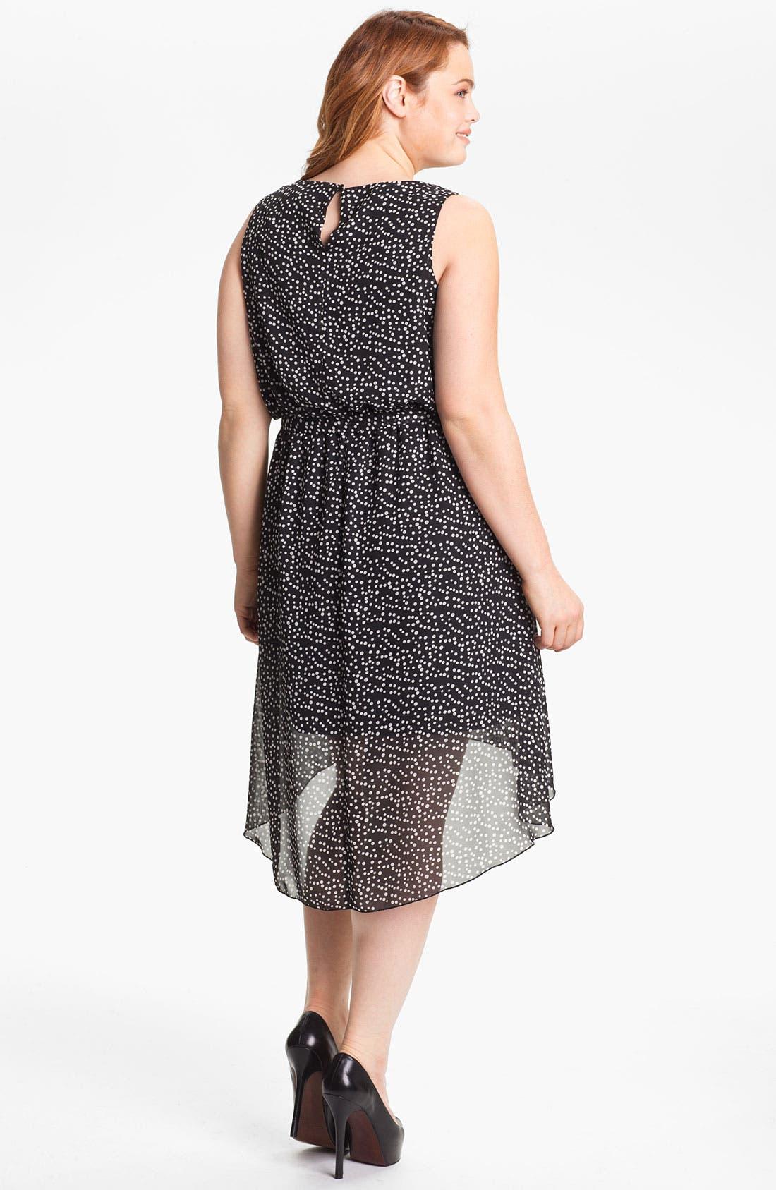 Alternate Image 2  - Evans Polka Dot High/Low Chiffon Dress (Plus Size)