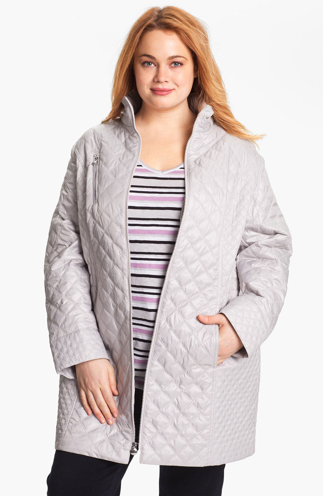 Alternate Image 1 Selected - Laundry by Shelli Segal Packable Quilted Coat (Plus Size)