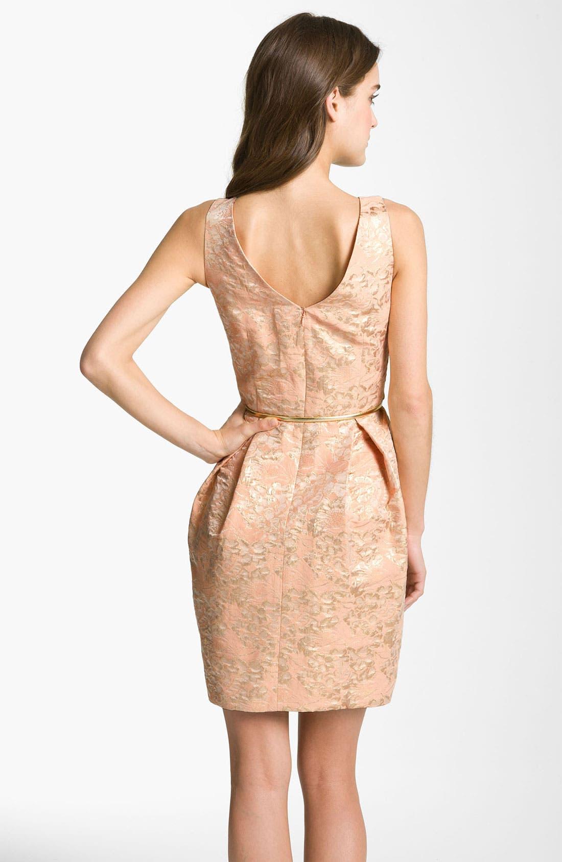 Alternate Image 2  - Eliza J Belted Cotton Jacquard Tulip Dress