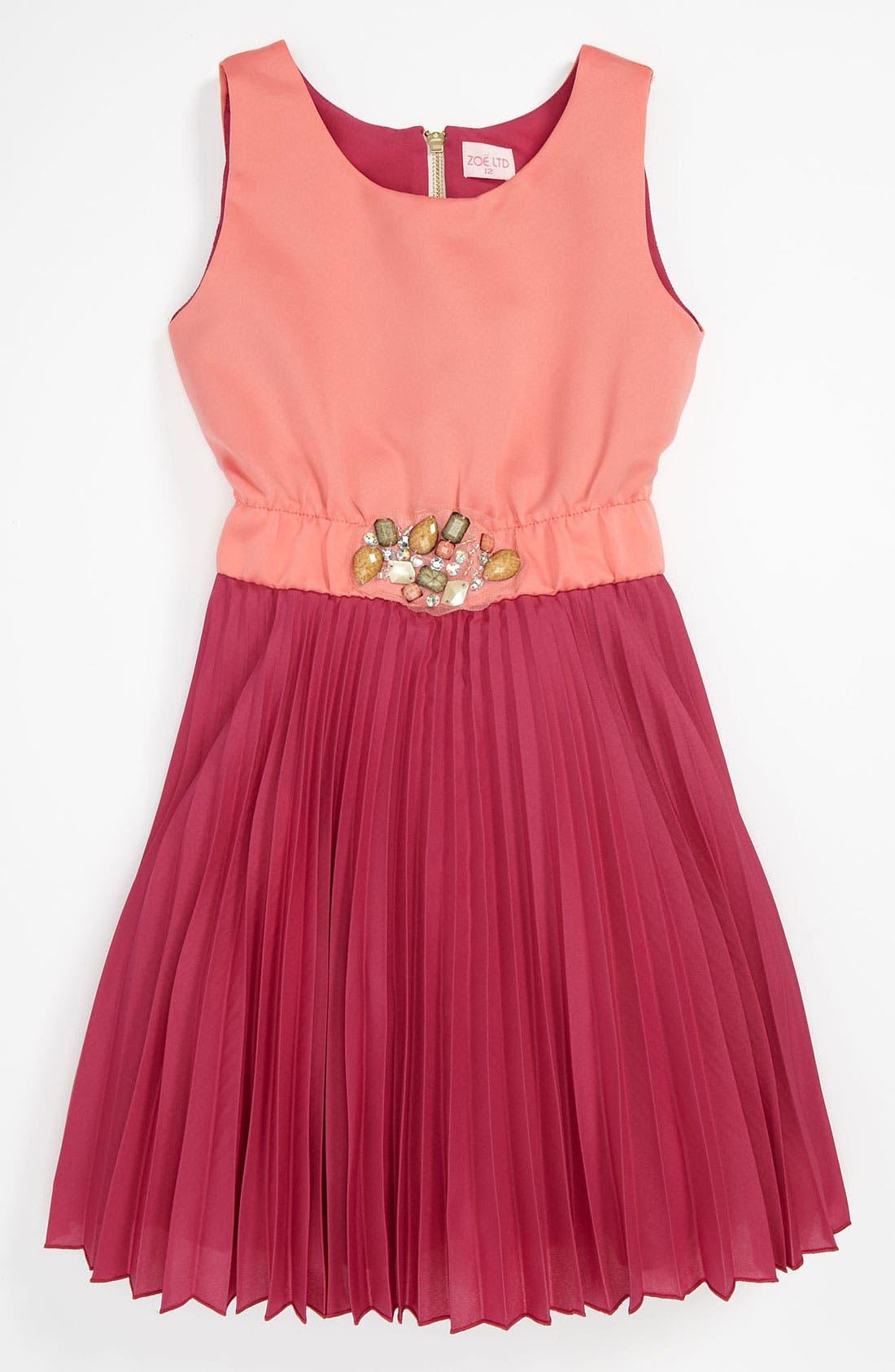 Alternate Image 1 Selected - Zoe Pleat Dress (Big Girls)