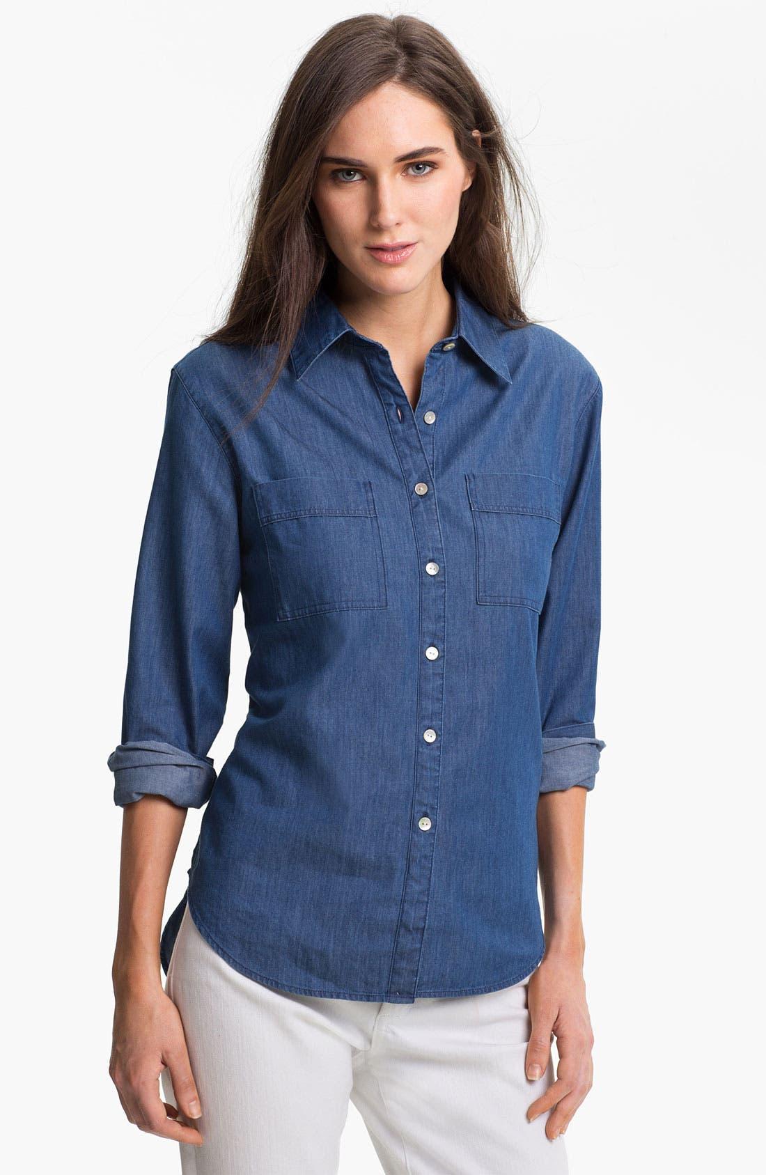 Alternate Image 1 Selected - Foxcroft Two Pocket Denim Shirt
