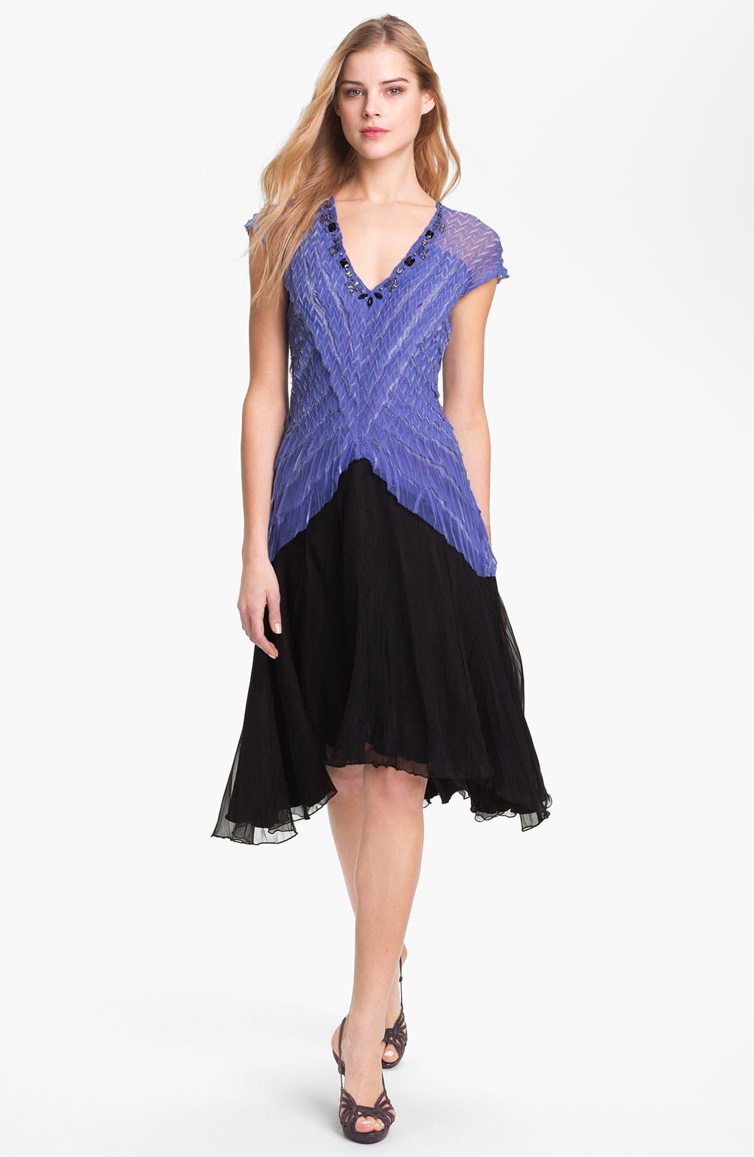 Alternate Image 1 Selected - Black by Komarov Embellished Textured A-Line Dress