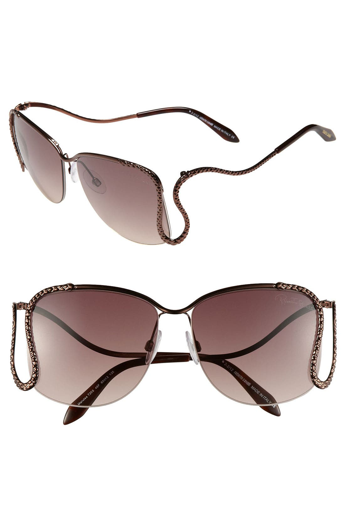 Main Image - Roberto Cavalli 'Serpent Drop' 60mm Sunglasses