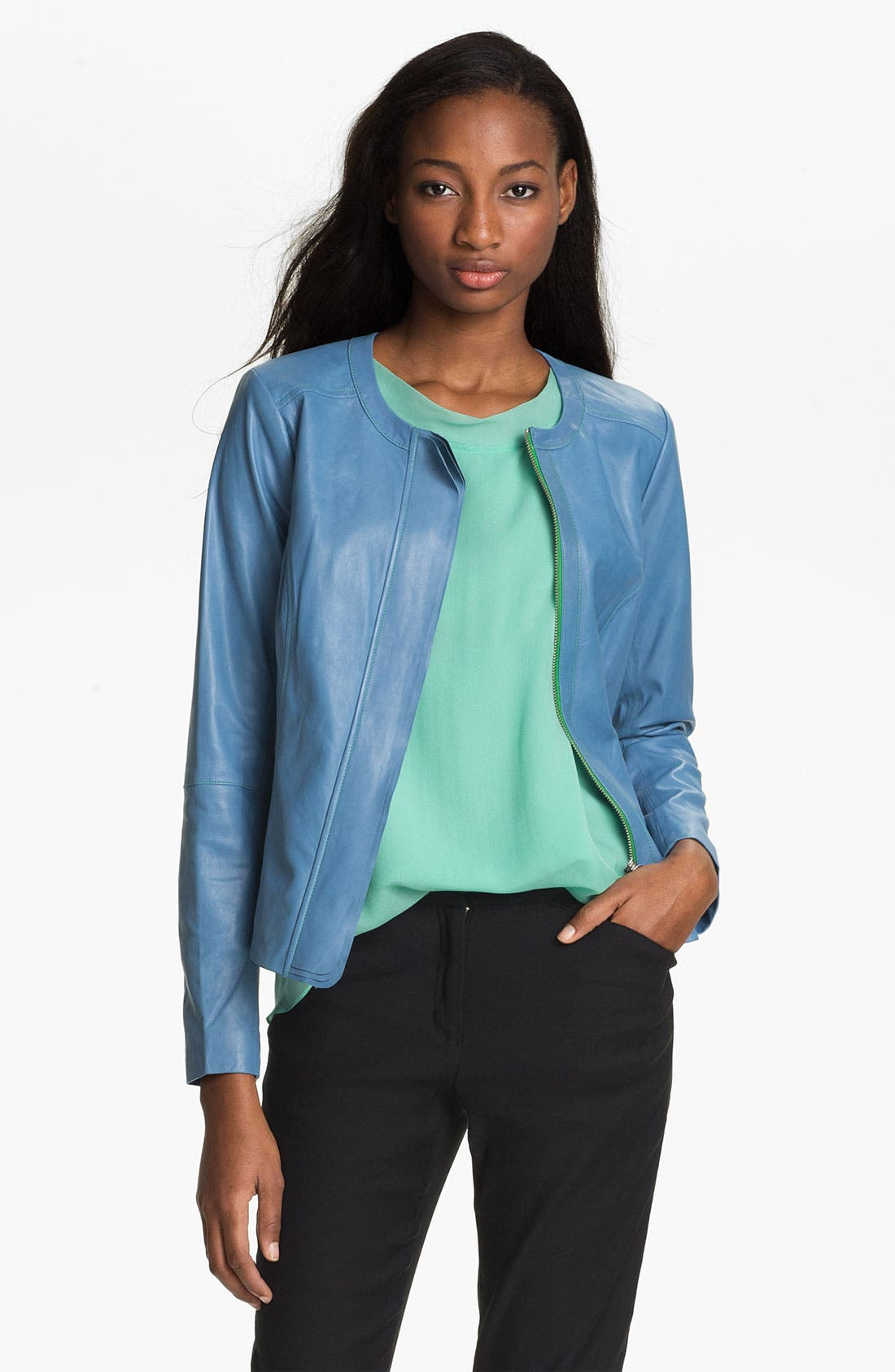 Alternate Image 1 Selected - Tracy Reese Zip Front Leather Jacket