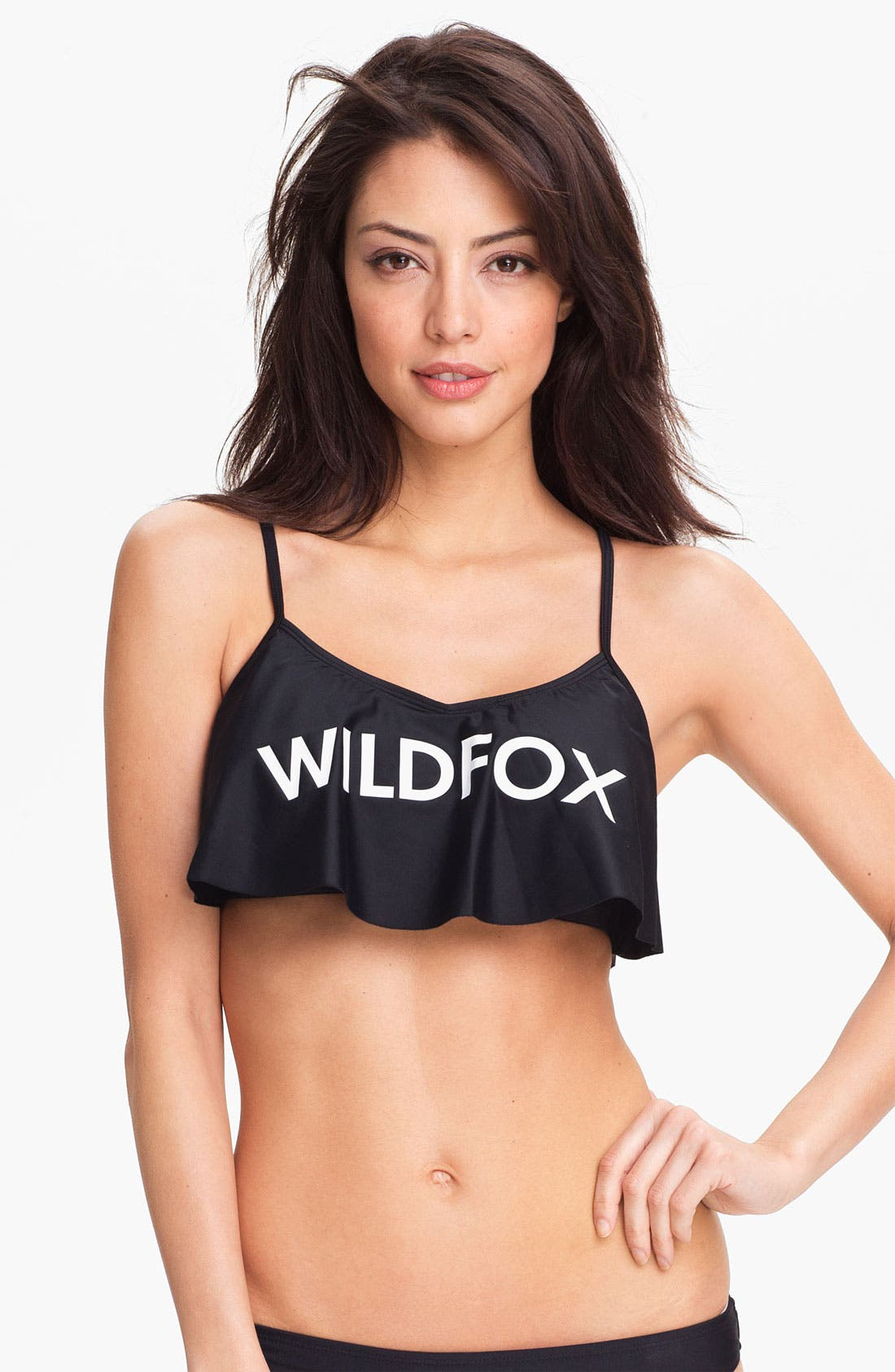 Alternate Image 1 Selected - Wildfox Logo Ruffle Bikini Top