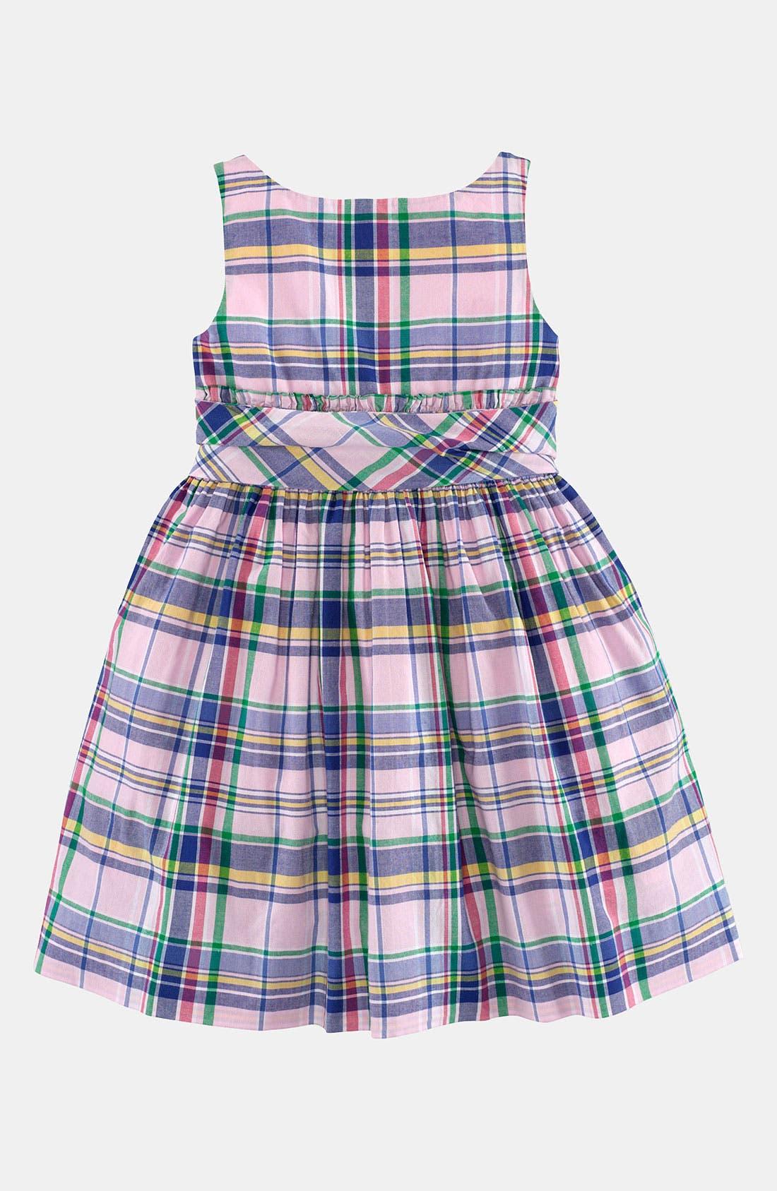 Main Image - Ralph Lauren Madras Dress (Toddler)