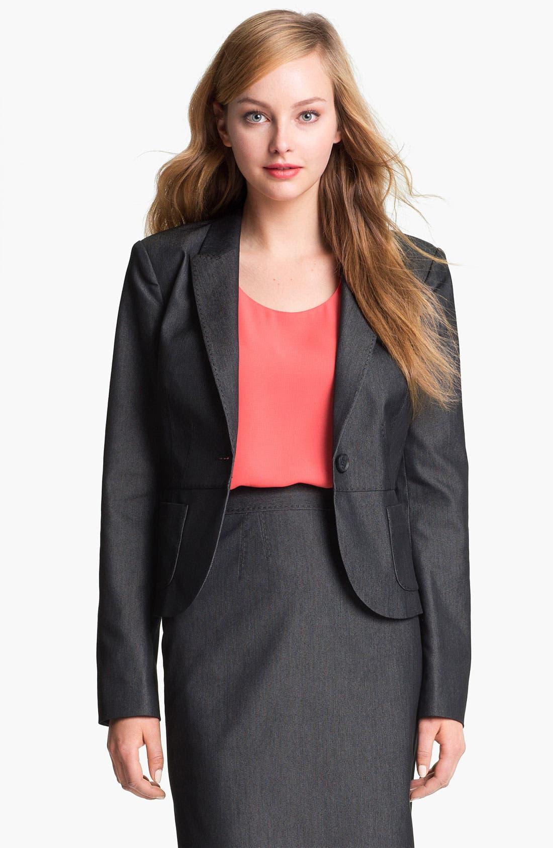 Alternate Image 2  - Halogen® Black Denim Suit Jacket