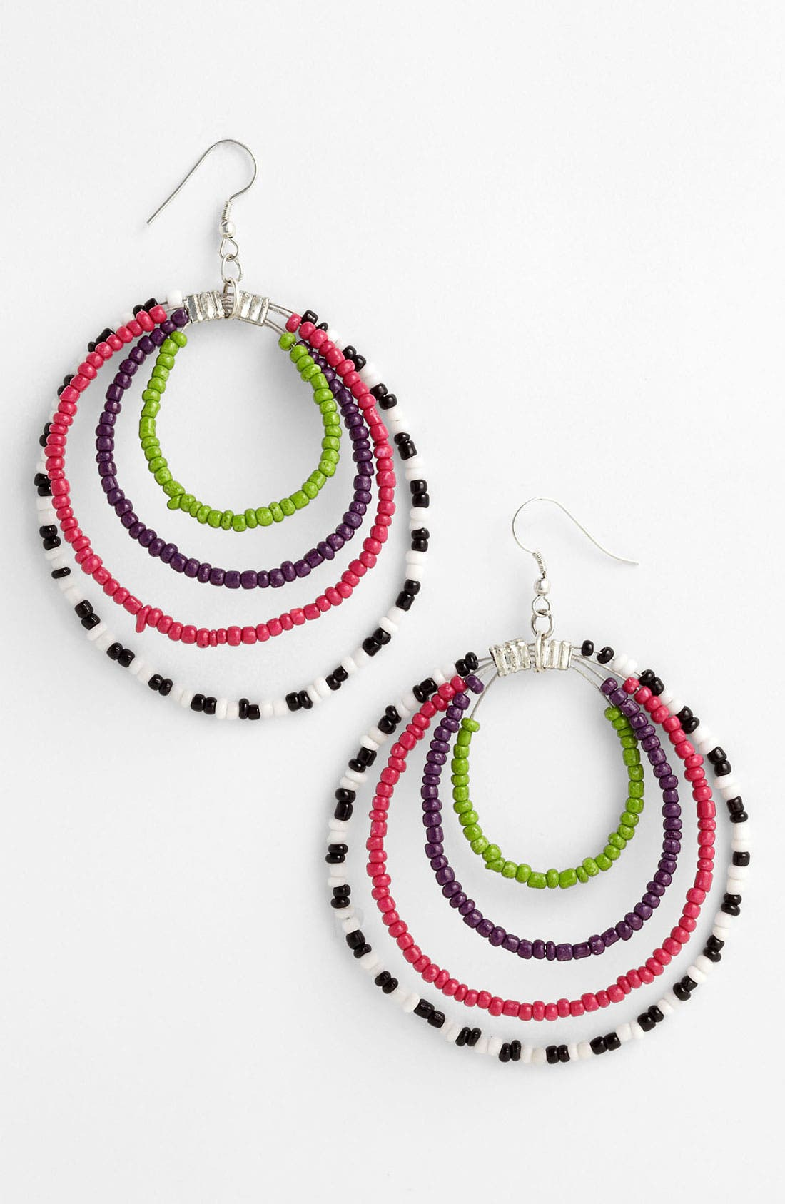Main Image - Spring Street Beaded Hoop Earrings