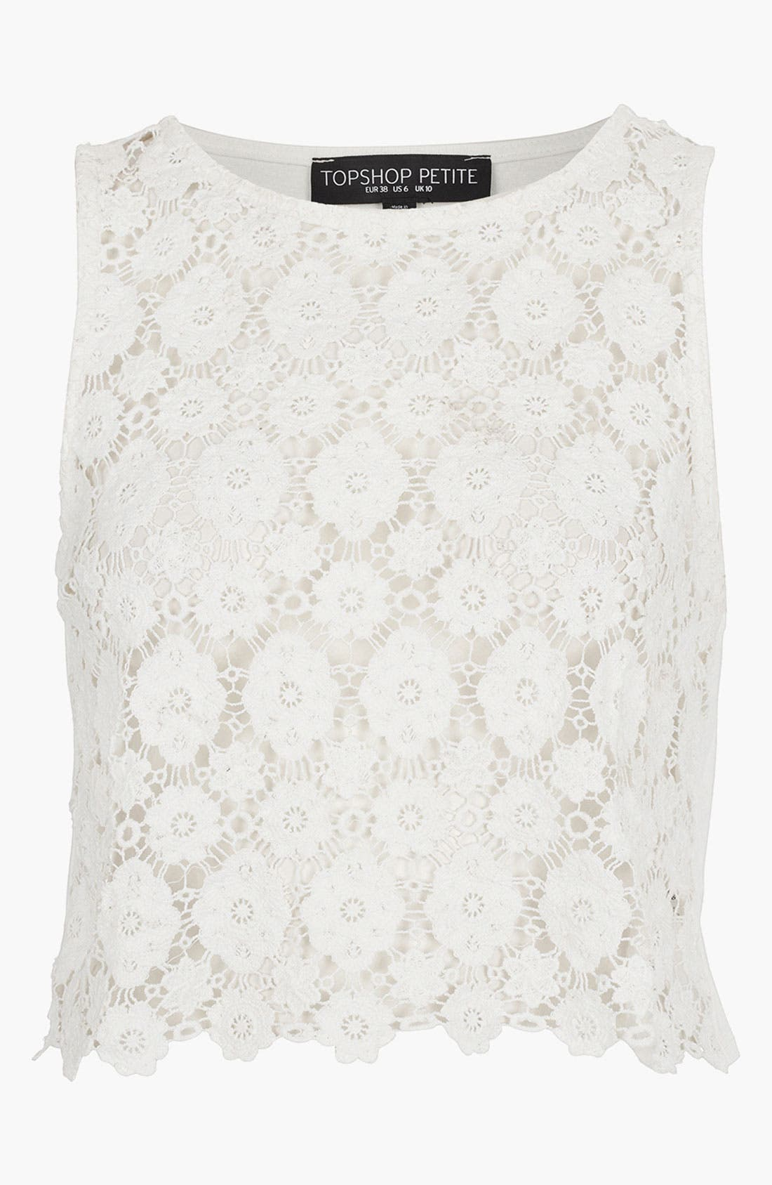 Alternate Image 1 Selected - Topshop Crop Doily Lace Top (Petite)