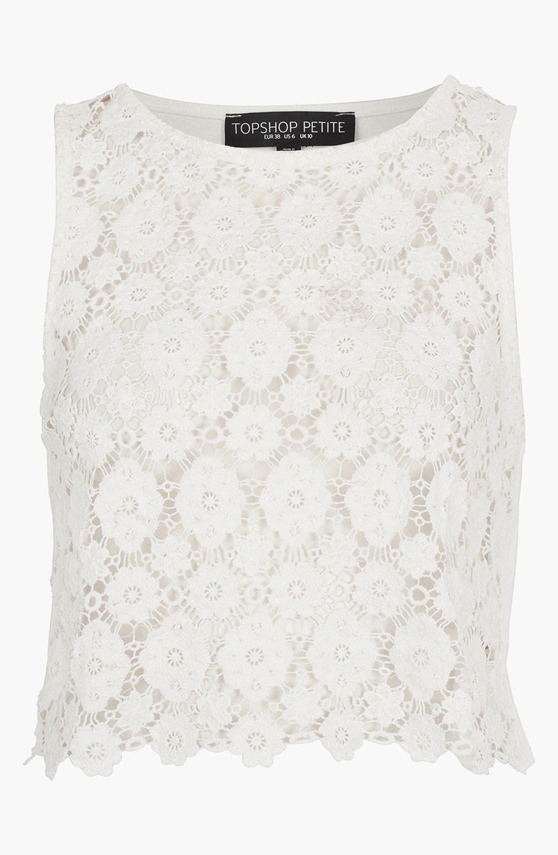 Main Image - Topshop Crop Doily Lace Top (Petite)