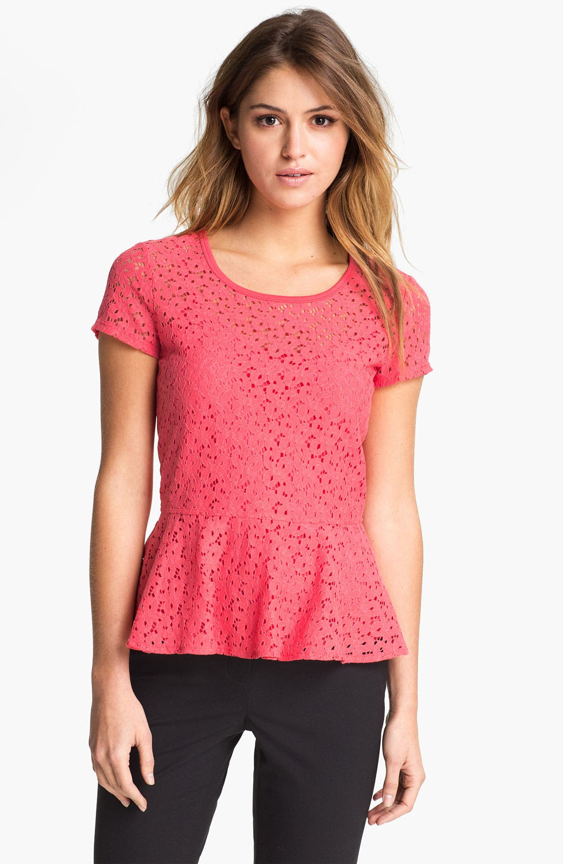 Alternate Image 1 Selected - DKNYC Eyelet Lace Peplum Top