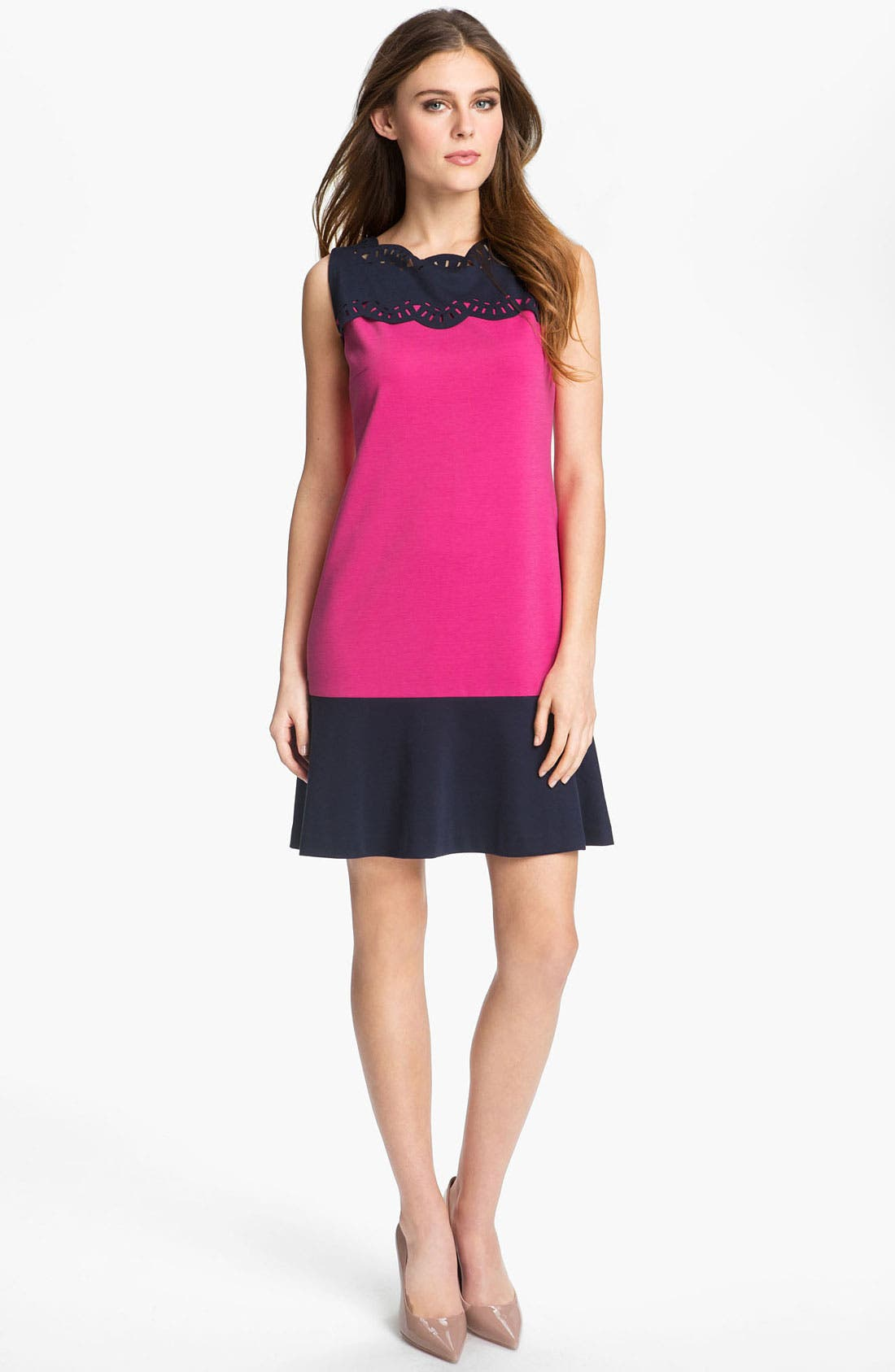 Main Image - Donna Morgan Colorblocked Ponte Shift Dress