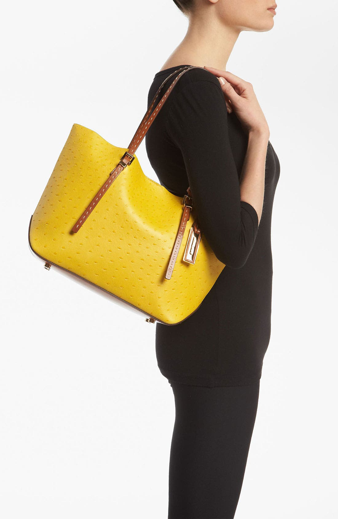Alternate Image 2  - Michael Kors 'Gia - Small' Ostrich Embossed Leather Tote