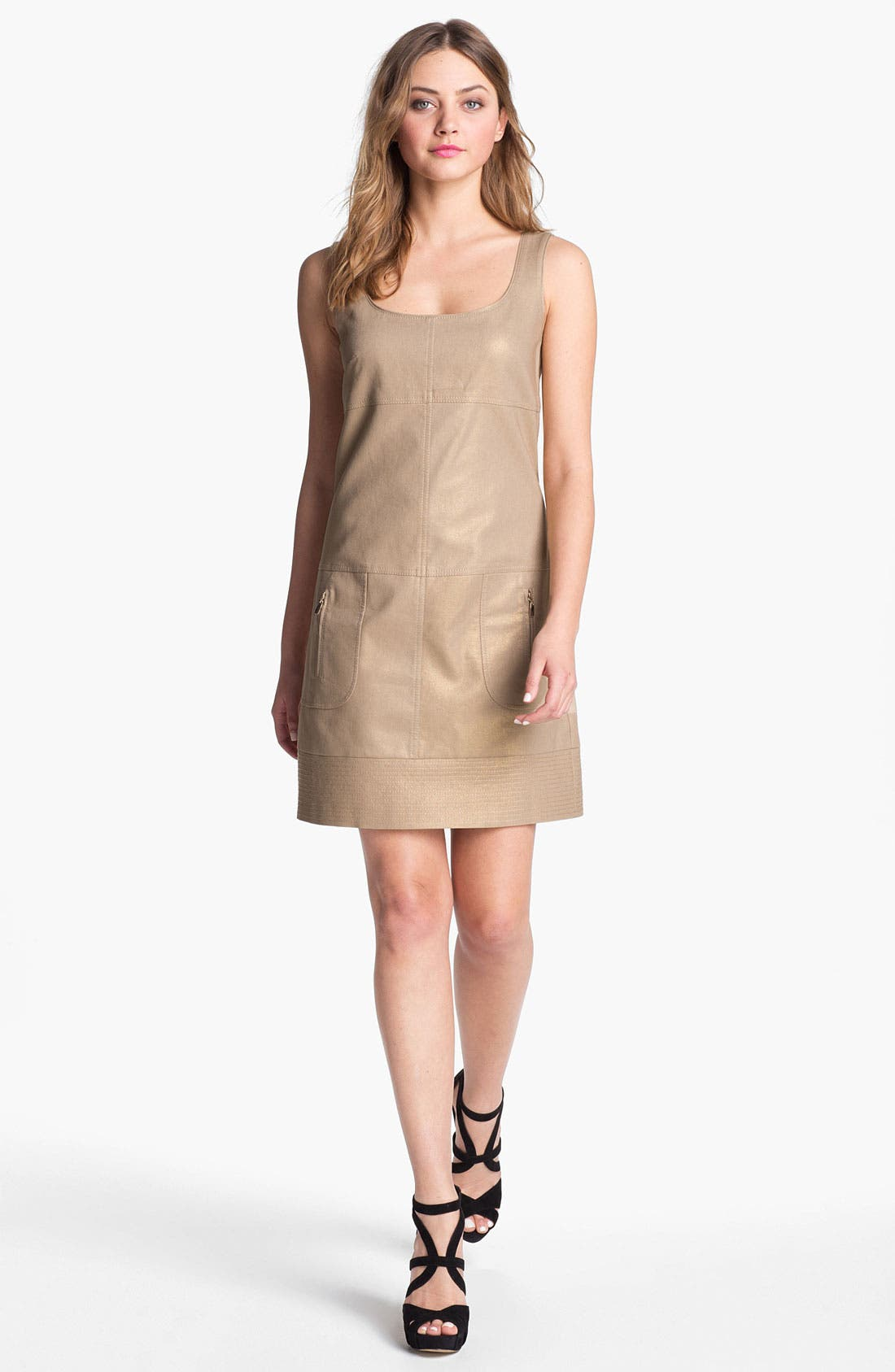 Alternate Image 1  - Laundry by Shelli Segal Metallic Seamed Tank Dress