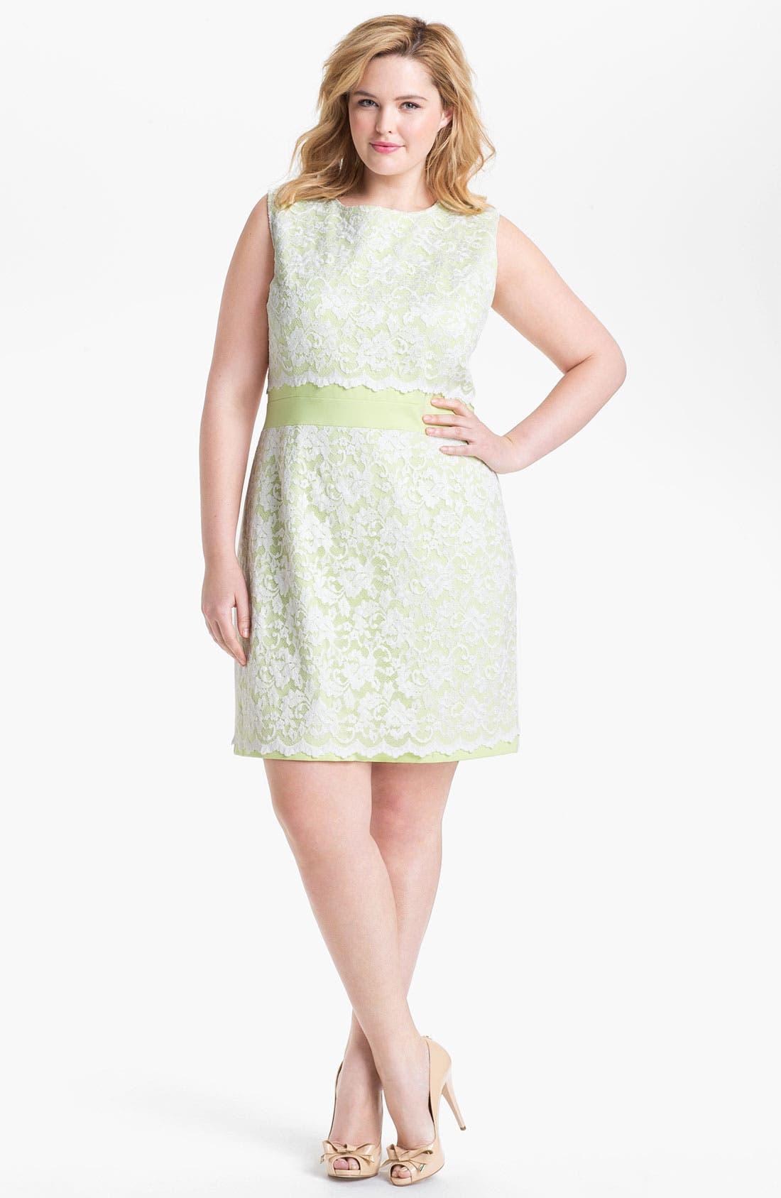 Main Image - ABS by Allen Schwartz Lace Front Sheath Dress (Plus Size)