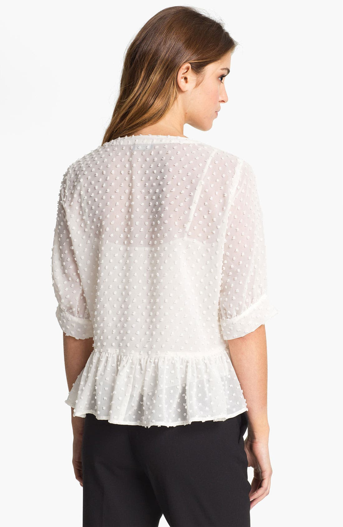 Alternate Image 2  - Vince Camuto Swiss Dot Peplum Blouse with Camisole