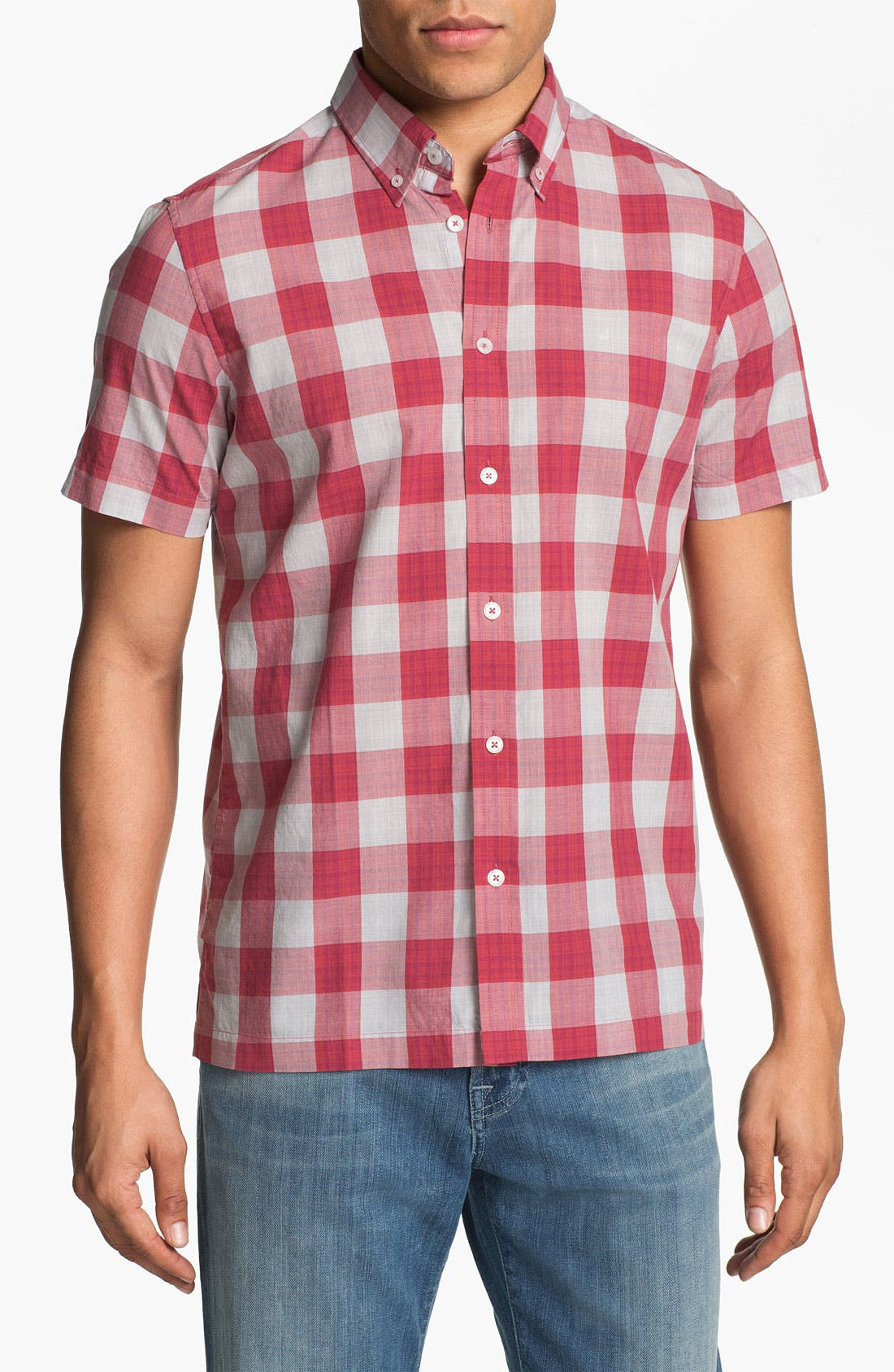 Alternate Image 1 Selected - Ben Sherman Gingham Check Short Sleeve Woven Shirt