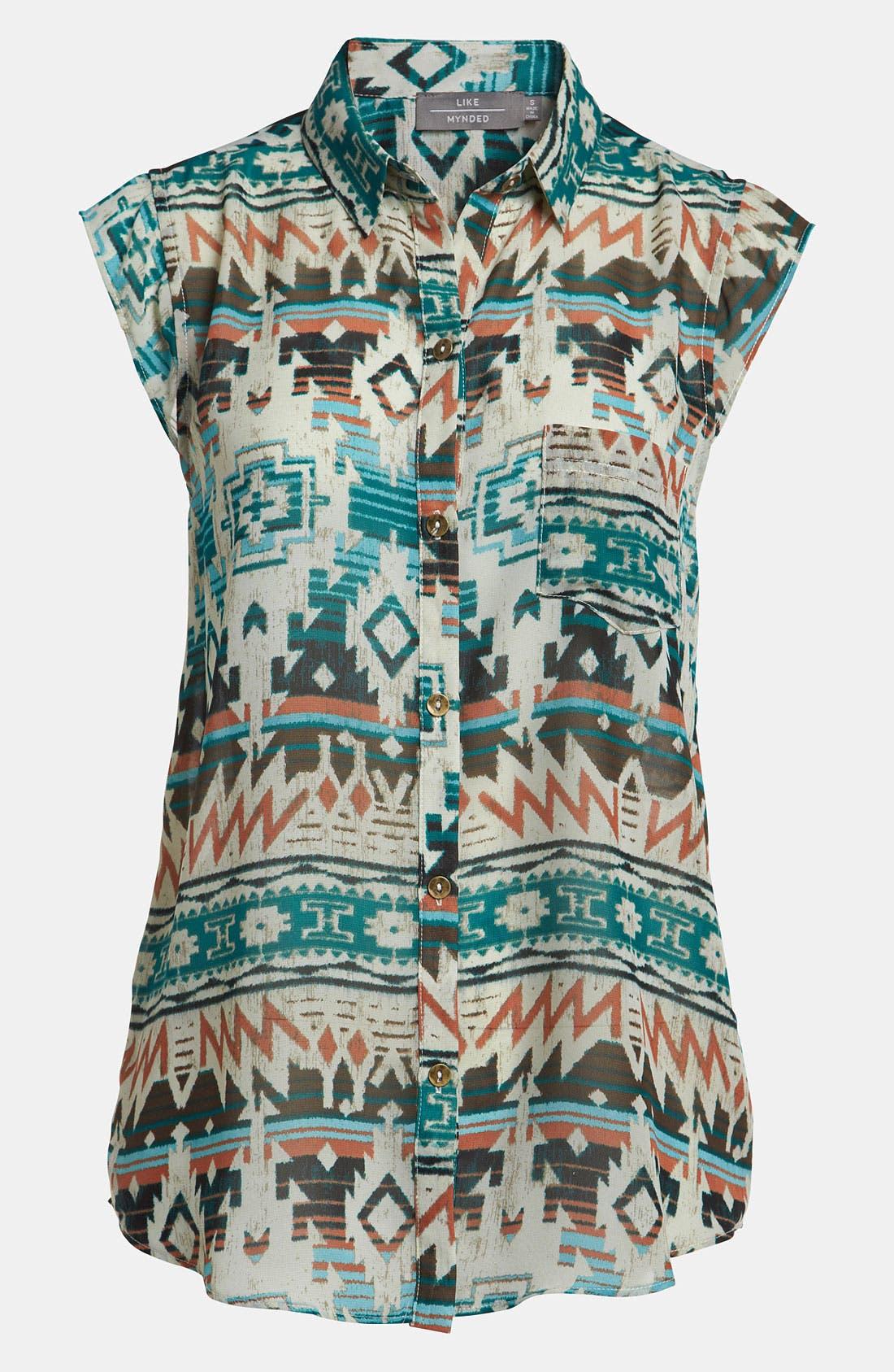 Main Image - Like Mynded Aztec Print Sleeveless Shirt