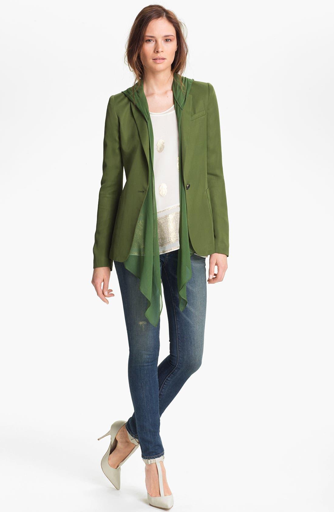 Alternate Image 1 Selected - Elizabeth and James 'Mona' Hooded Crepe Vest & Satin Jacket