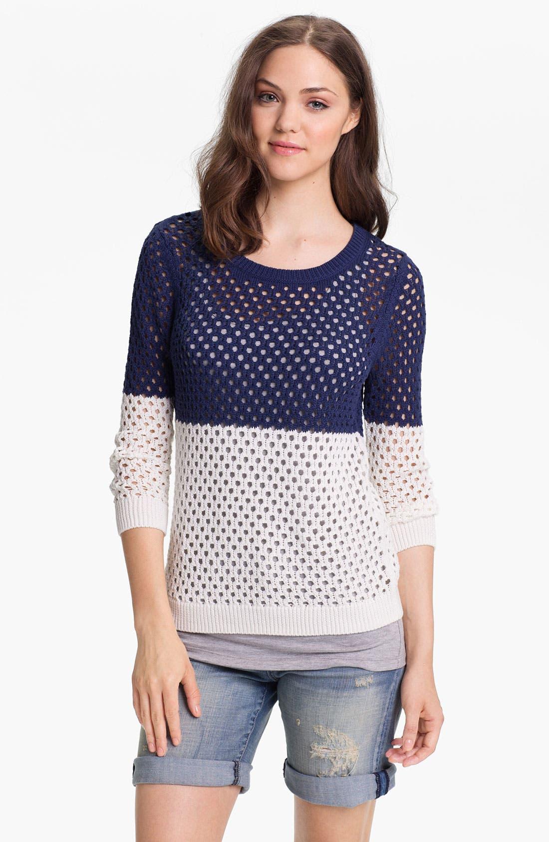 Alternate Image 1 Selected - Caslon® Colorblock Open Stitch Sweater