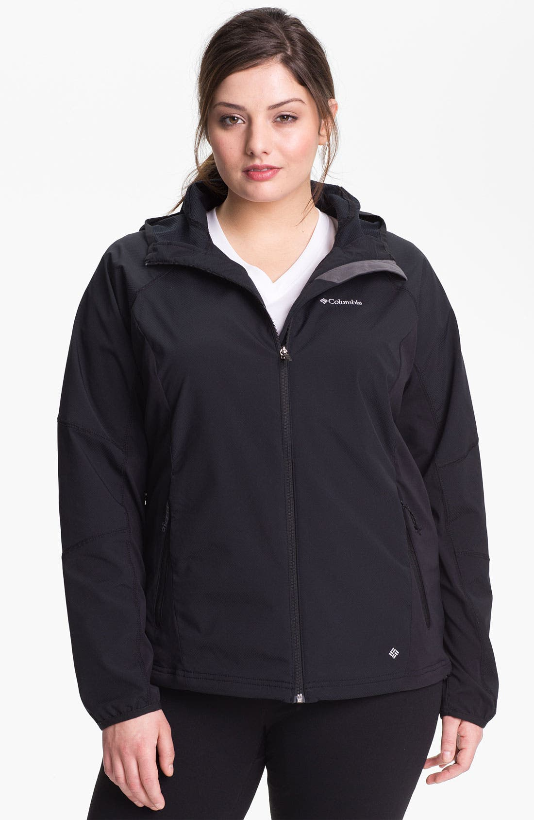 Main Image - Columbia 'Sweet as Softshell' Hooded Jacket (Plus)
