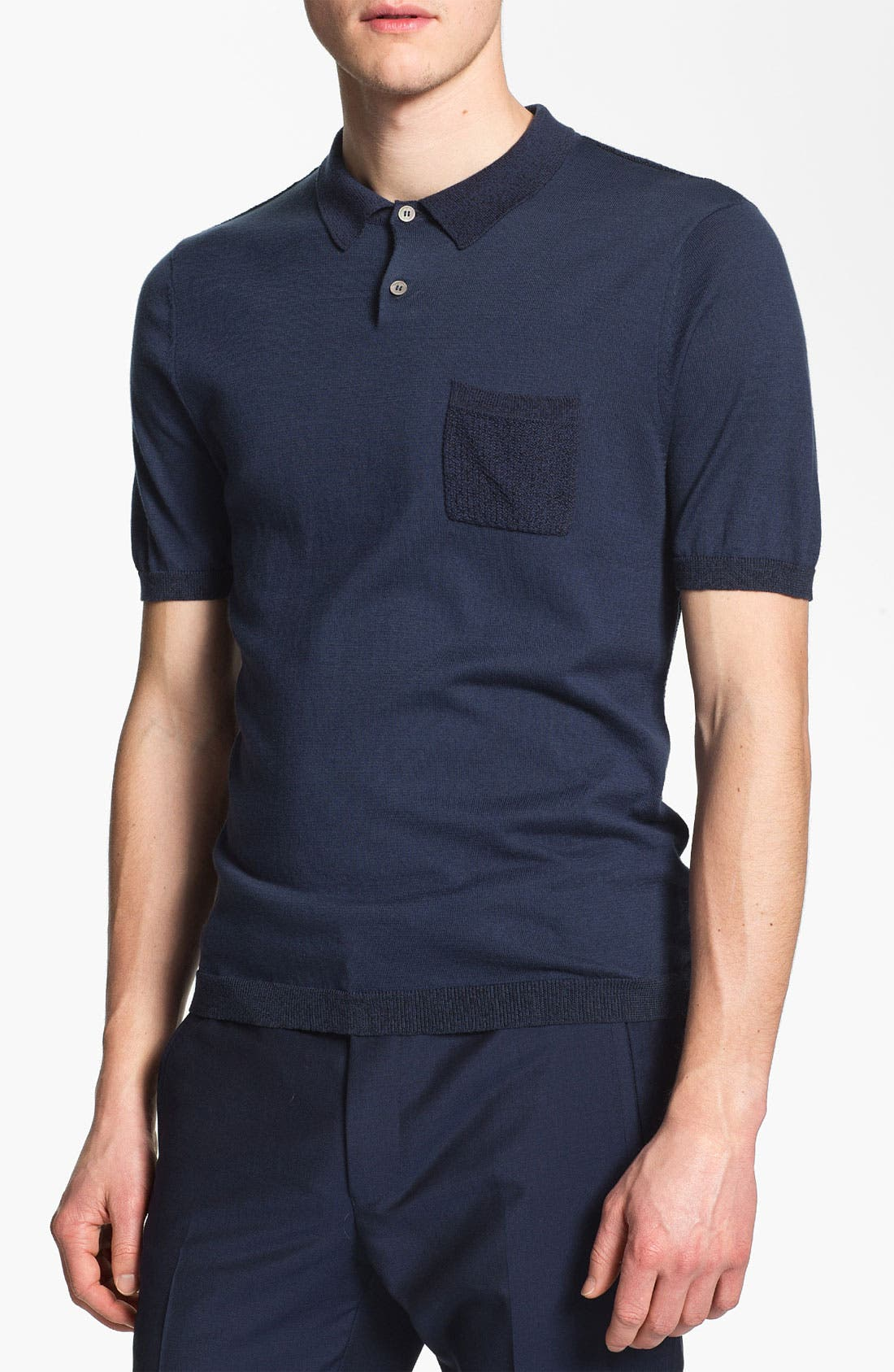 Main Image - Topman 'Lux Collection' Mesh Knit Cotton Polo