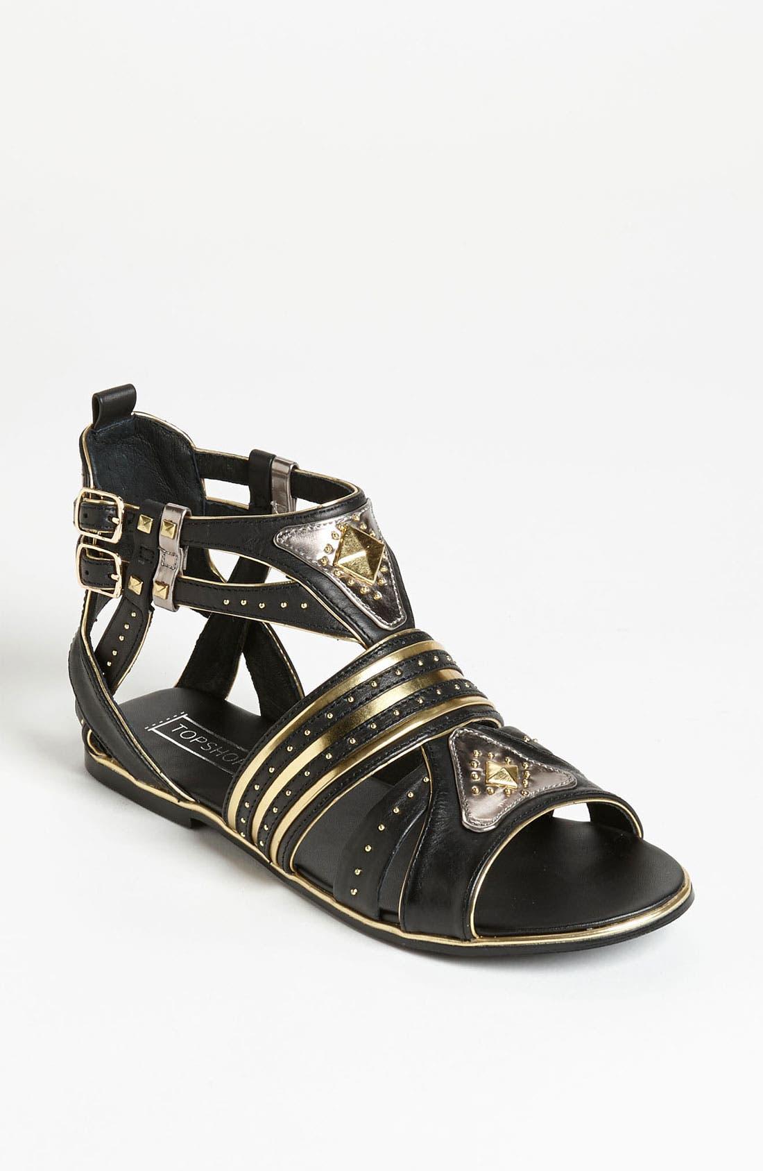 Alternate Image 1 Selected - Topshop 'Francine' Metal Gladiator Sandal