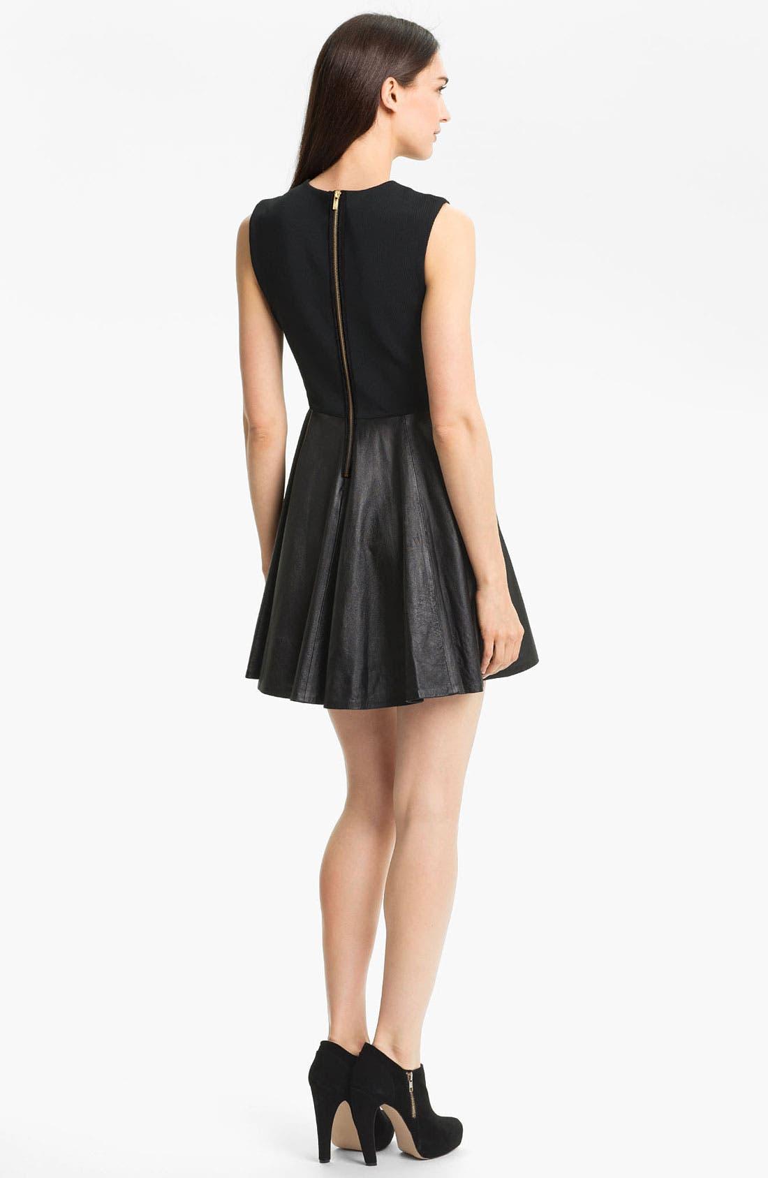 Alternate Image 2  - Diane von Furstenberg 'Jeannie' Leather Fit & Flare Dress