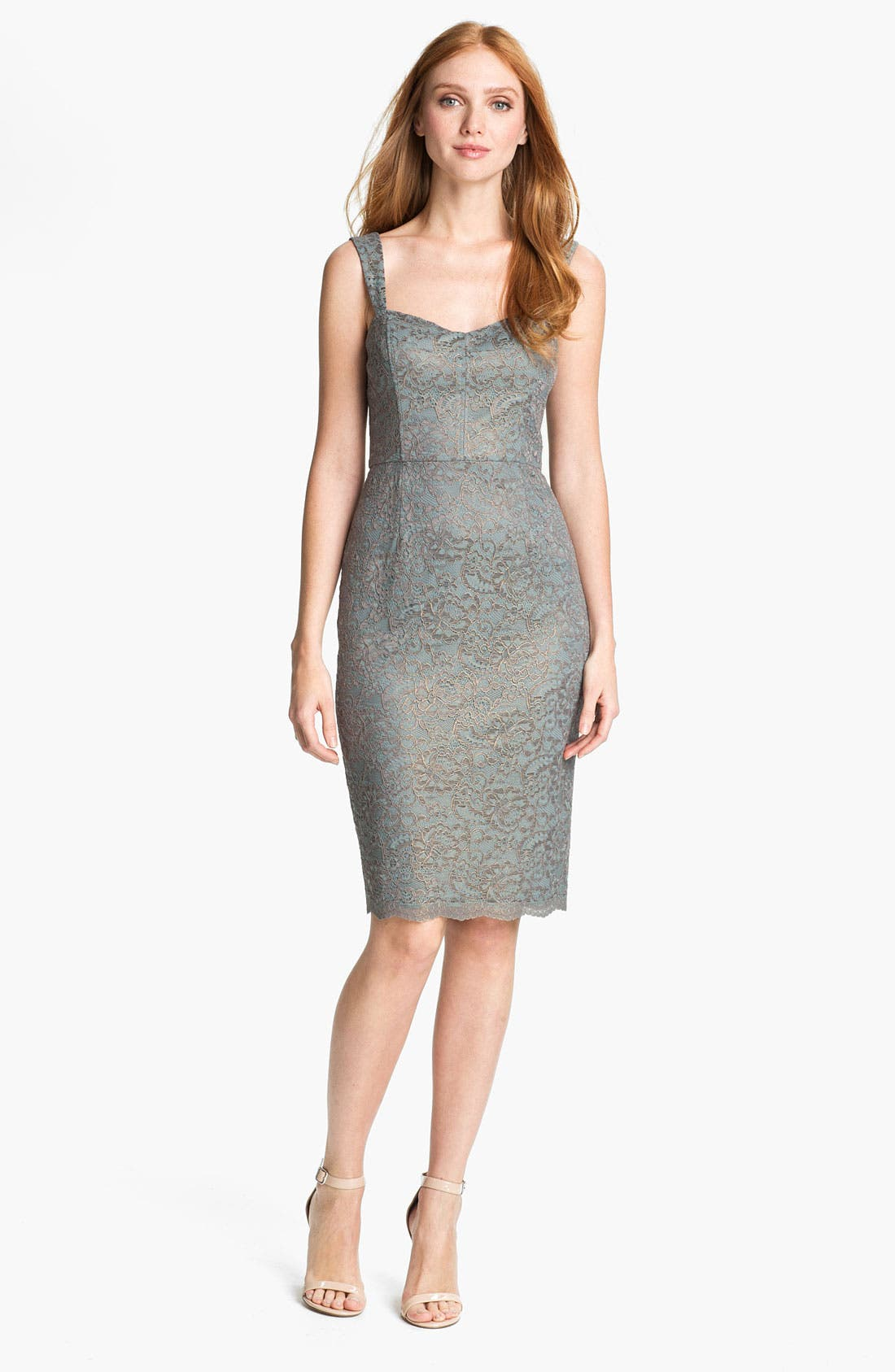 Alternate Image 1 Selected - Adrianna Papell Metallic Lace Sheath Dress