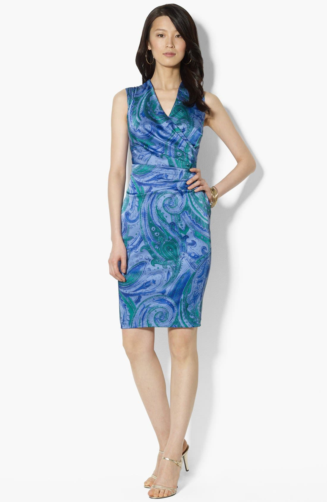 Alternate Image 1 Selected - Lauren Ralph Lauren Print Satin Sheath Dress