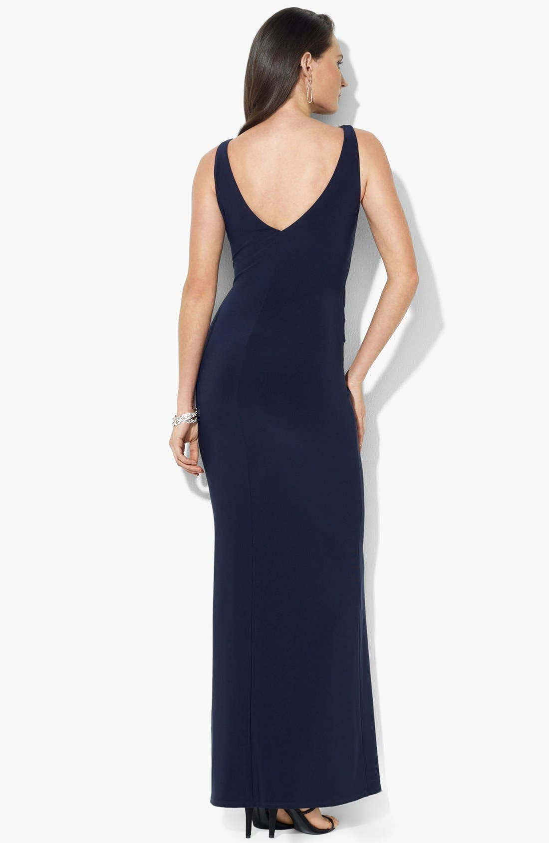 Alternate Image 2  - Lauren Ralph Lauren Ruffled Matte Jersey Gown