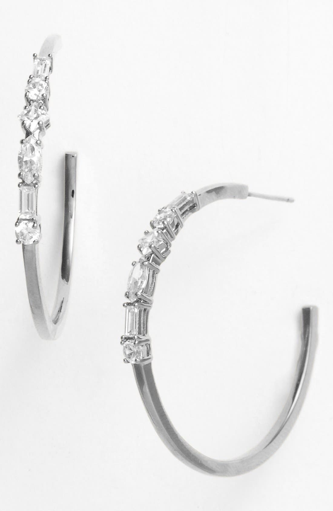 Main Image - Nadri Mixed Cut Hoop Earrings (Nordstrom Exclusive)