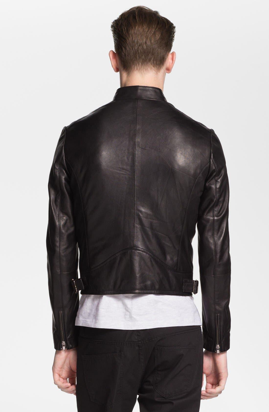 Alternate Image 2  - Topman 'Lux Collection' Lambskin Leather Biker Jacket